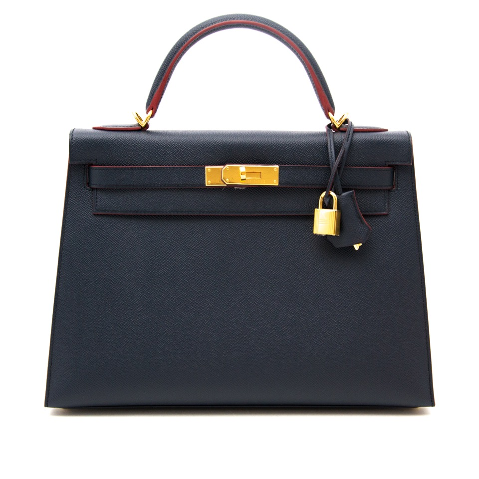 shop safe at the best price second hand luxury Brand New Limited Hermes Kelly 32 Countour Epsom Blue Indigo