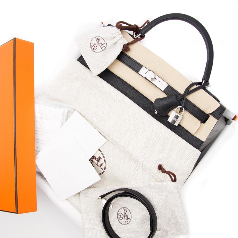 acheter neuf sac a main  Hermes Kelly 32 Black Epsom  PHW pour le meilleur prix