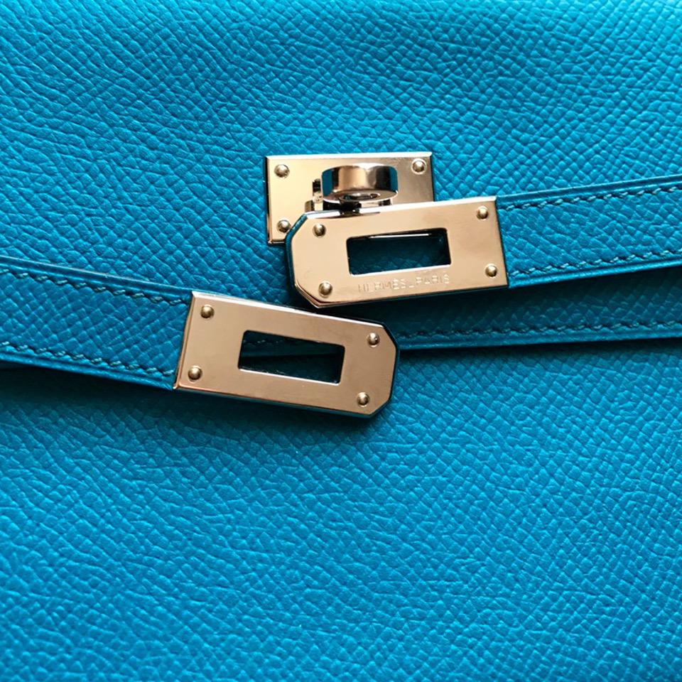 Hermes Kelly wallet blue izmir in epsom leather online at e shop LabelLOV antwerp Belgium