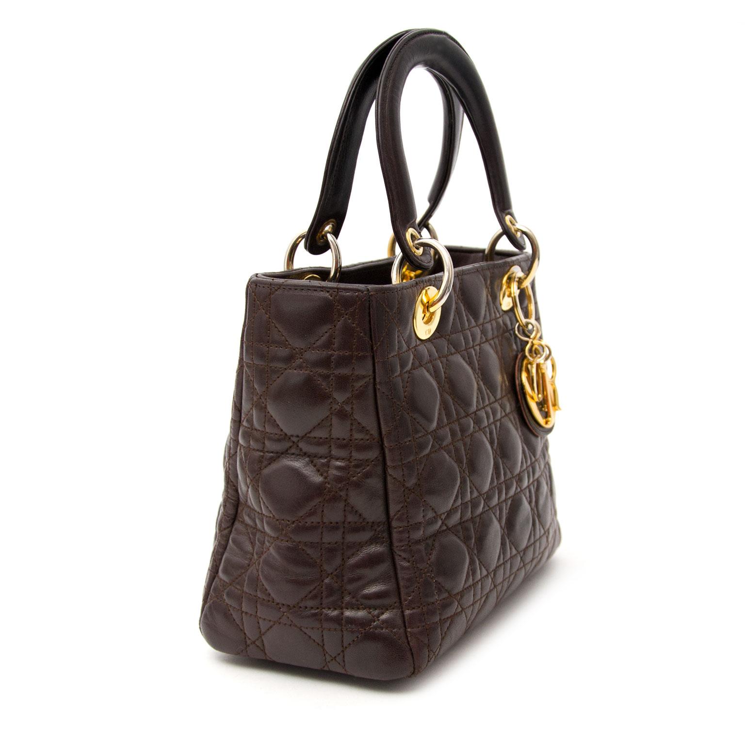 Acheter un Lady Dior Brown Mini Bag chez Labellov