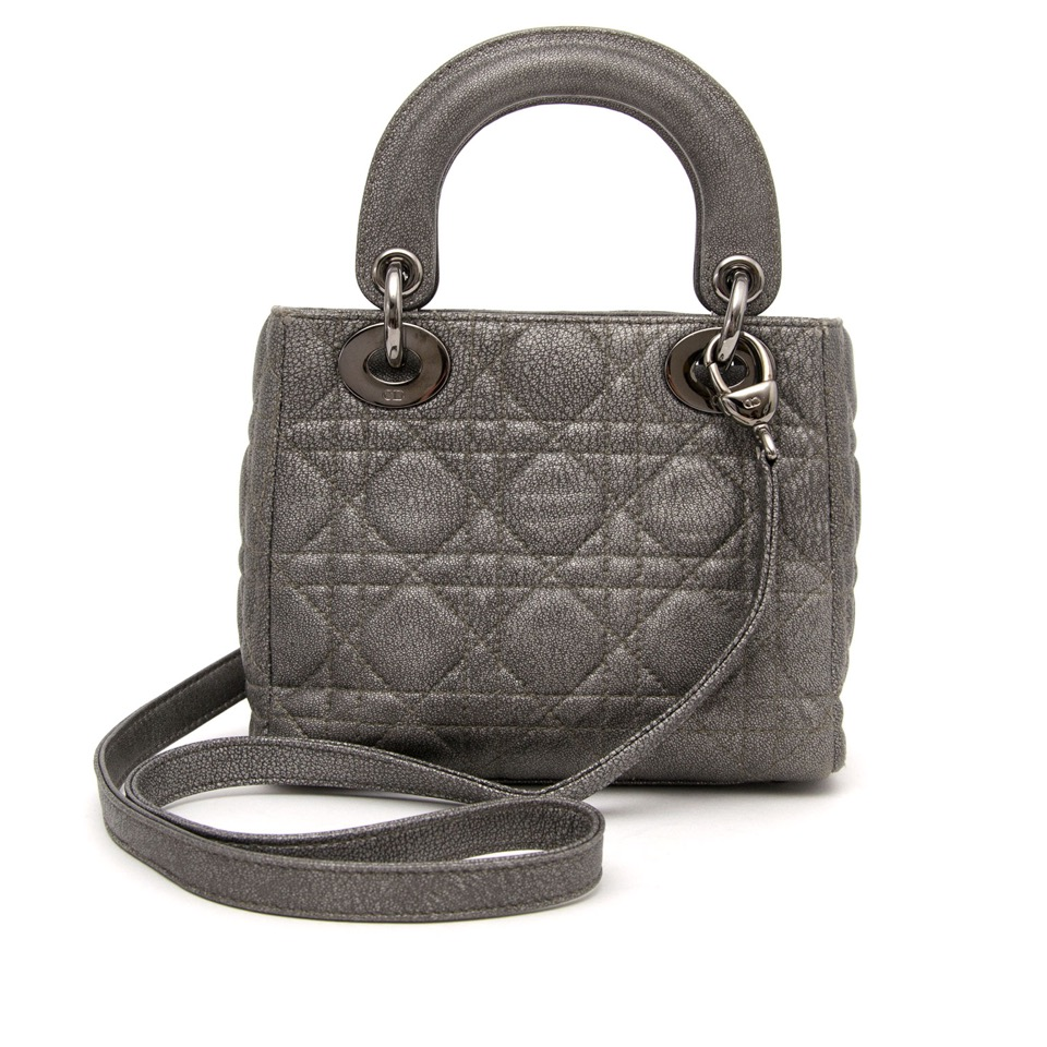 Dior Grey Patent Quilted Mini Lady Bag for sale on labellov with worldwide secure shipping