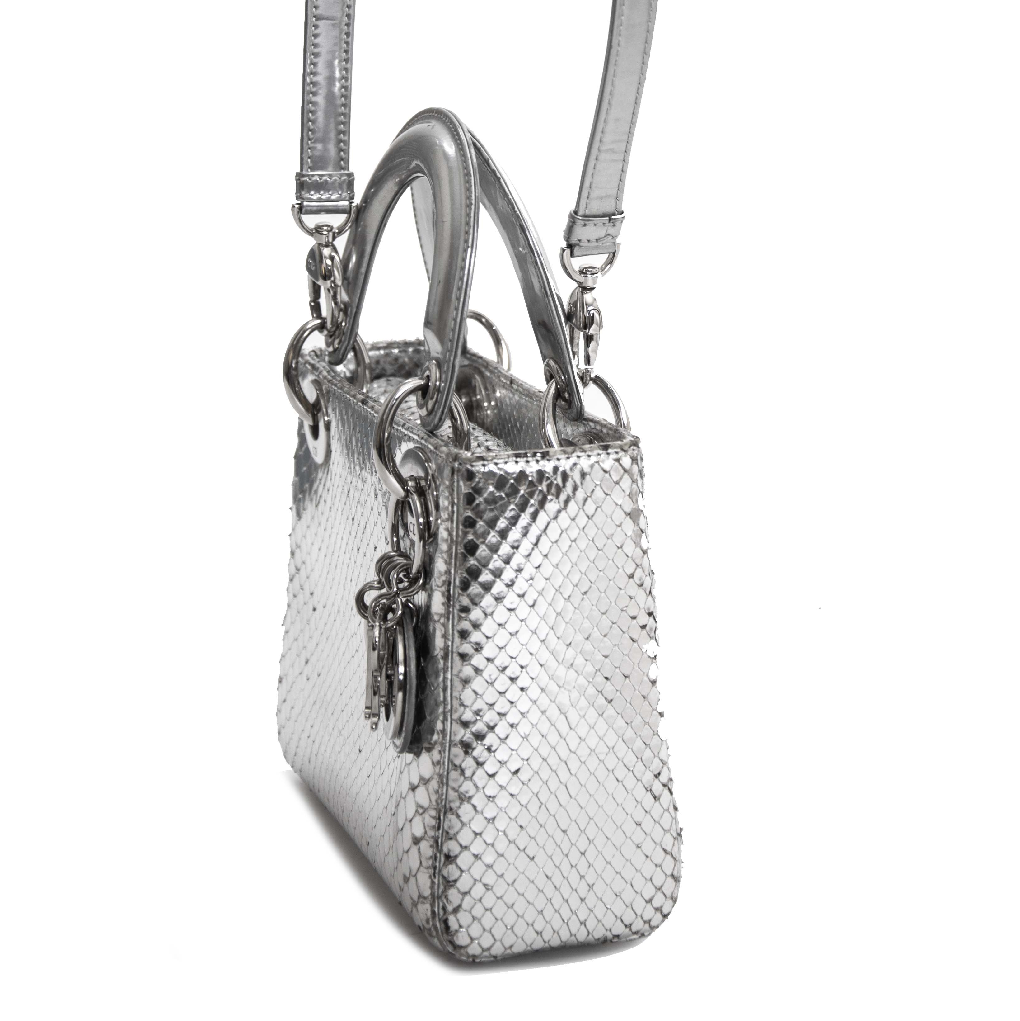 koop veilig online tegen de beste prijs Dior Silvery Python Mini Lady Dior Bag
