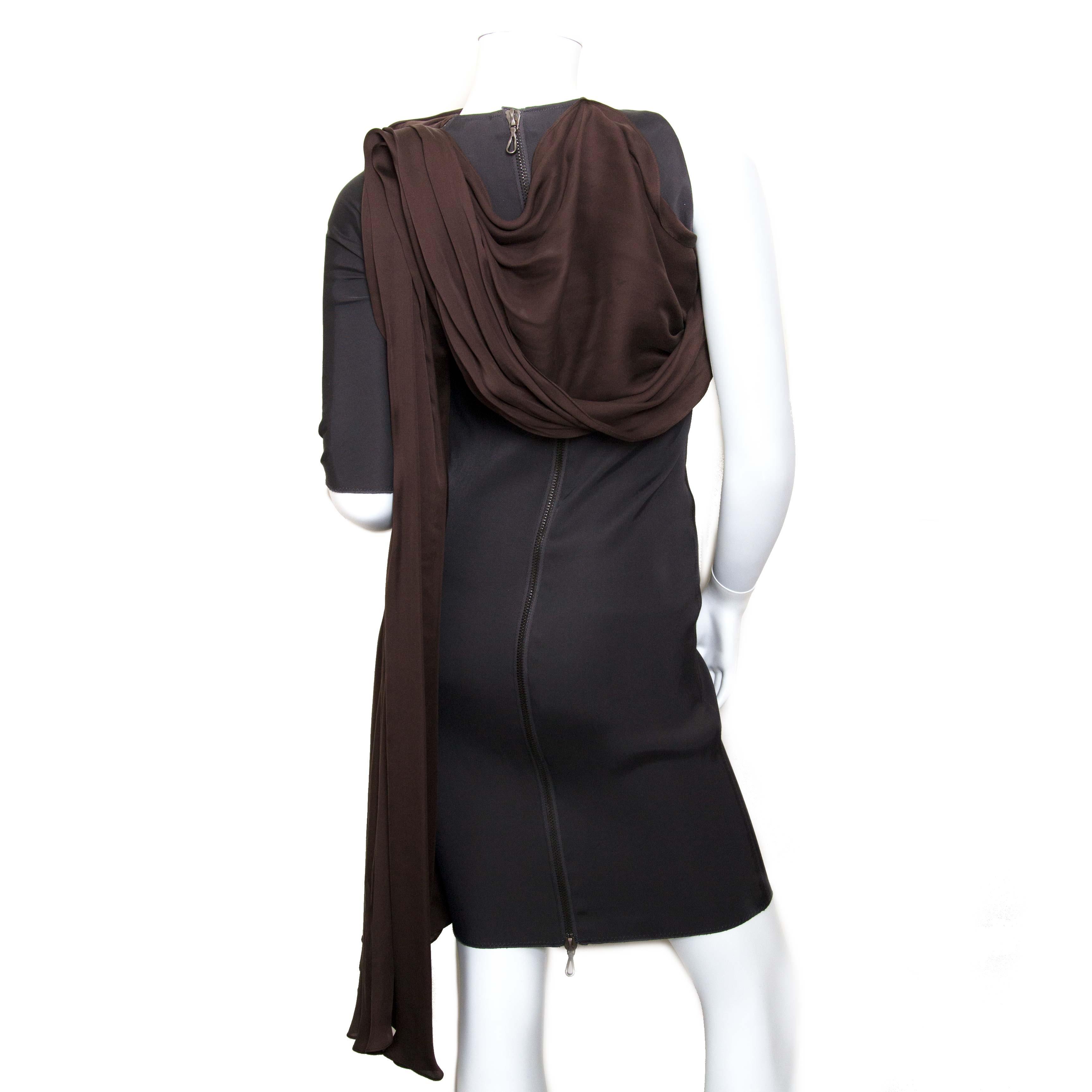 lanvin dark brown dress now for sale at labellov vintage fashion webshop belgium
