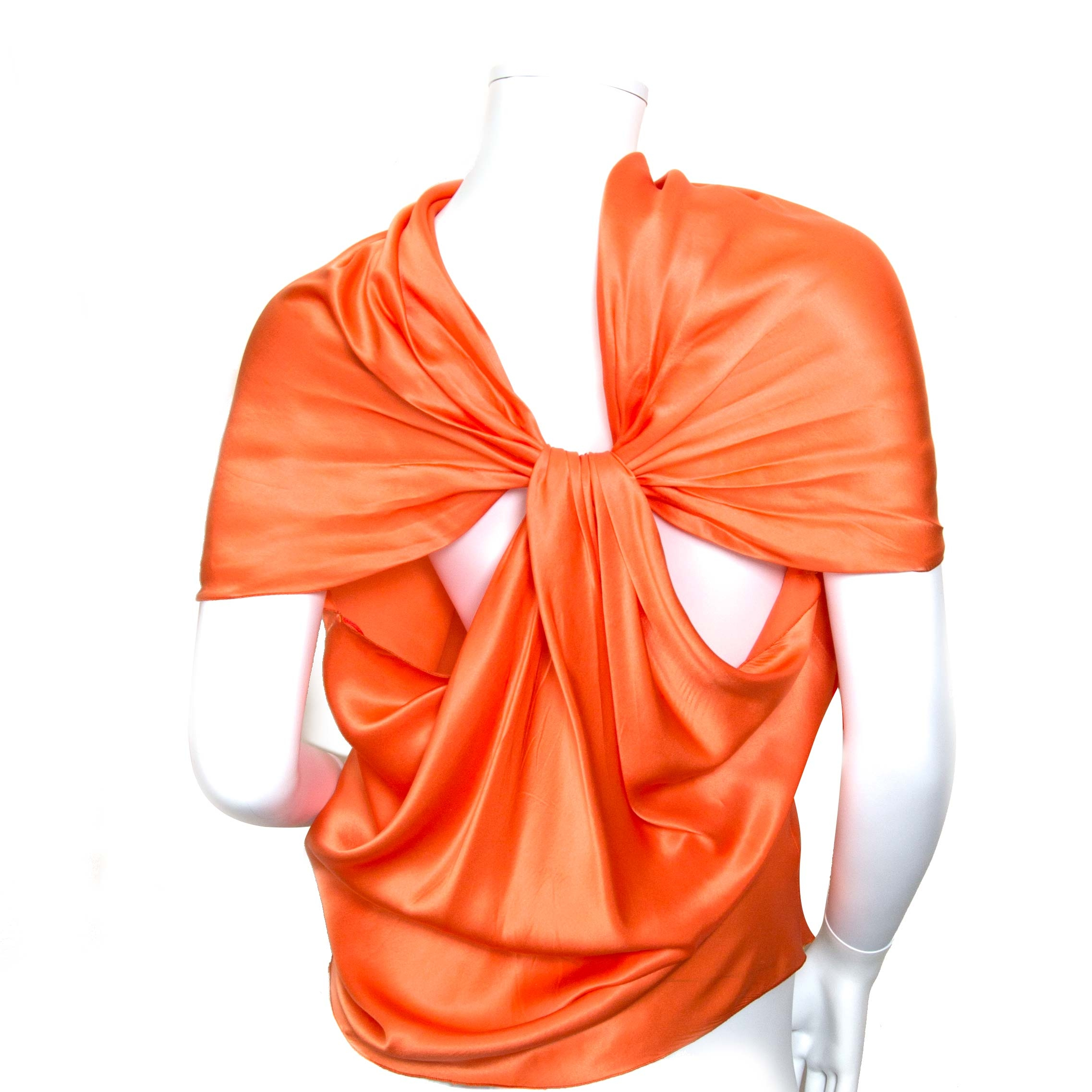 buy authentic lanvin orange silk top at labellov vintage fashion webshop belgium