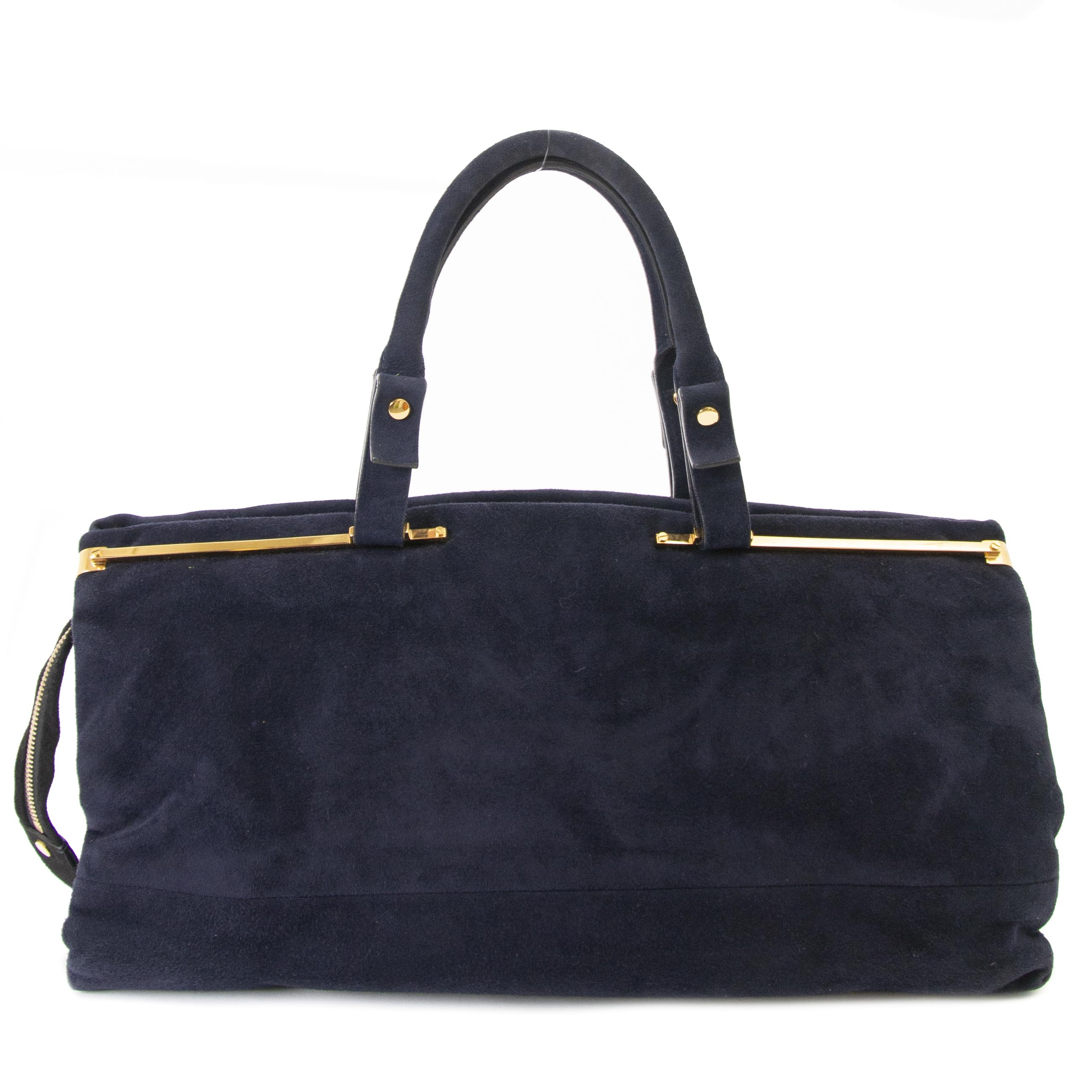 63808d9c3bb1 ... buy Lanvin Dark Blue Suede Handbag at labellov for the best price