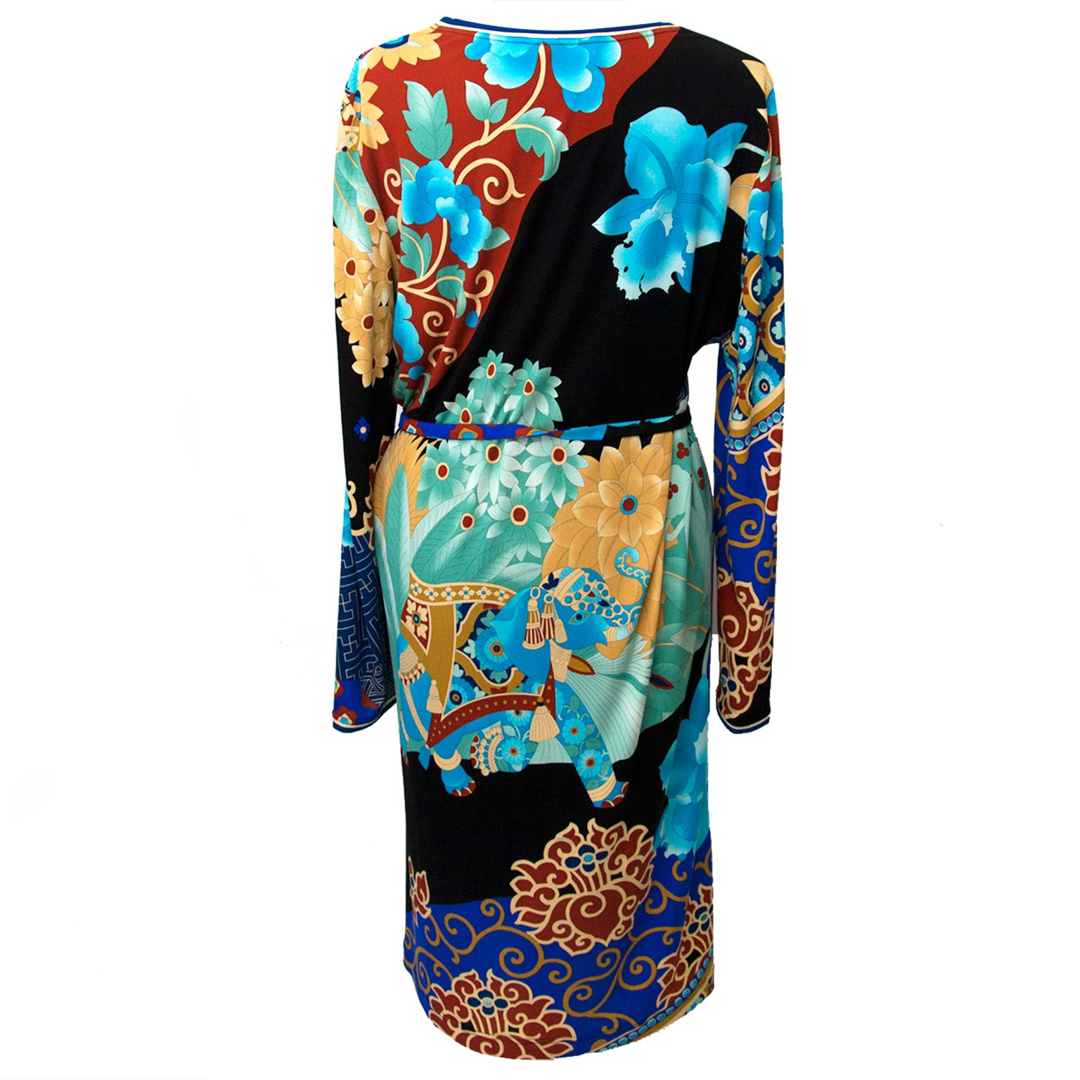 shop safe online for the best price Leonard Blue Floral Printed Jersey Belt Dress