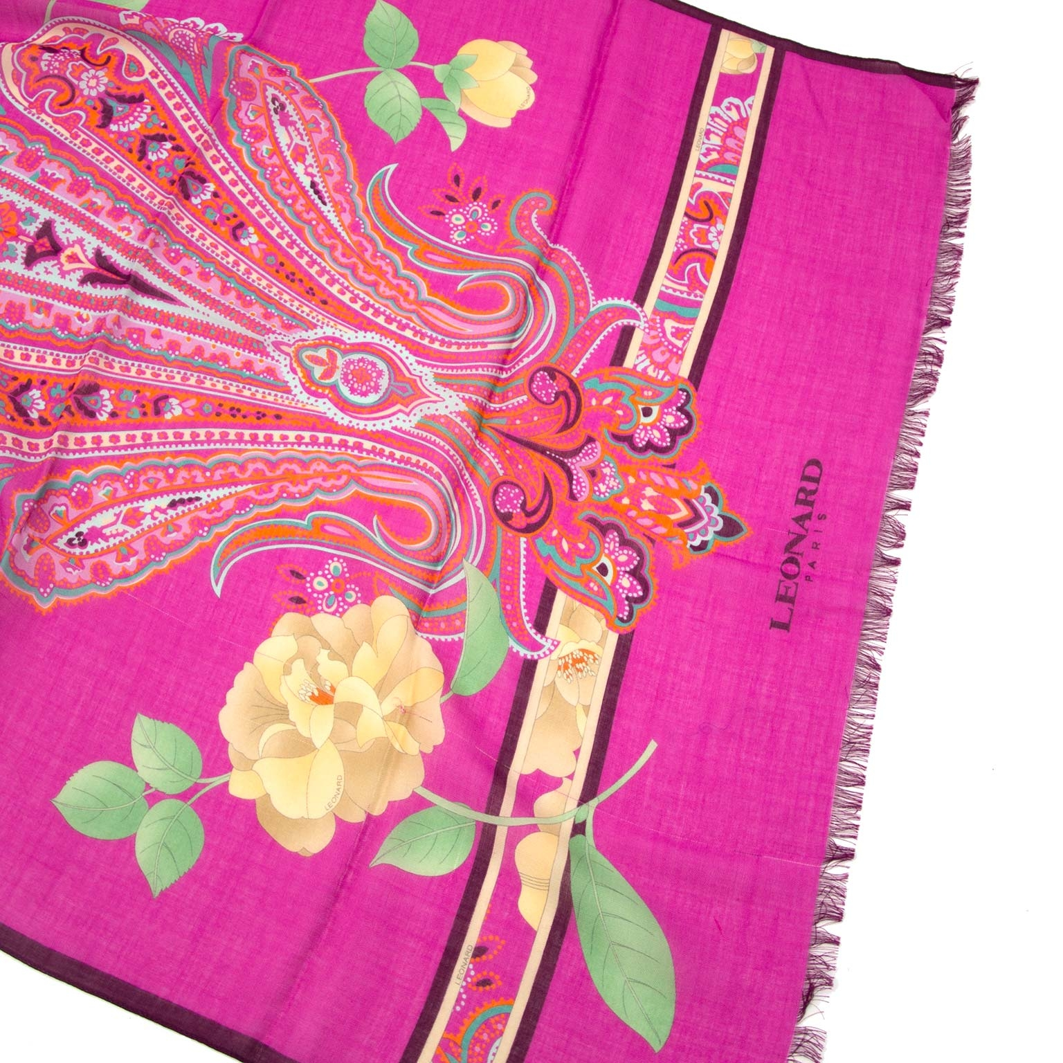d2c83c6e2 ... Leonard Fuchsia Floral Cashmere Silk Scarf Buy authentic designer  Leonard secondhand scarves at Labellov at the