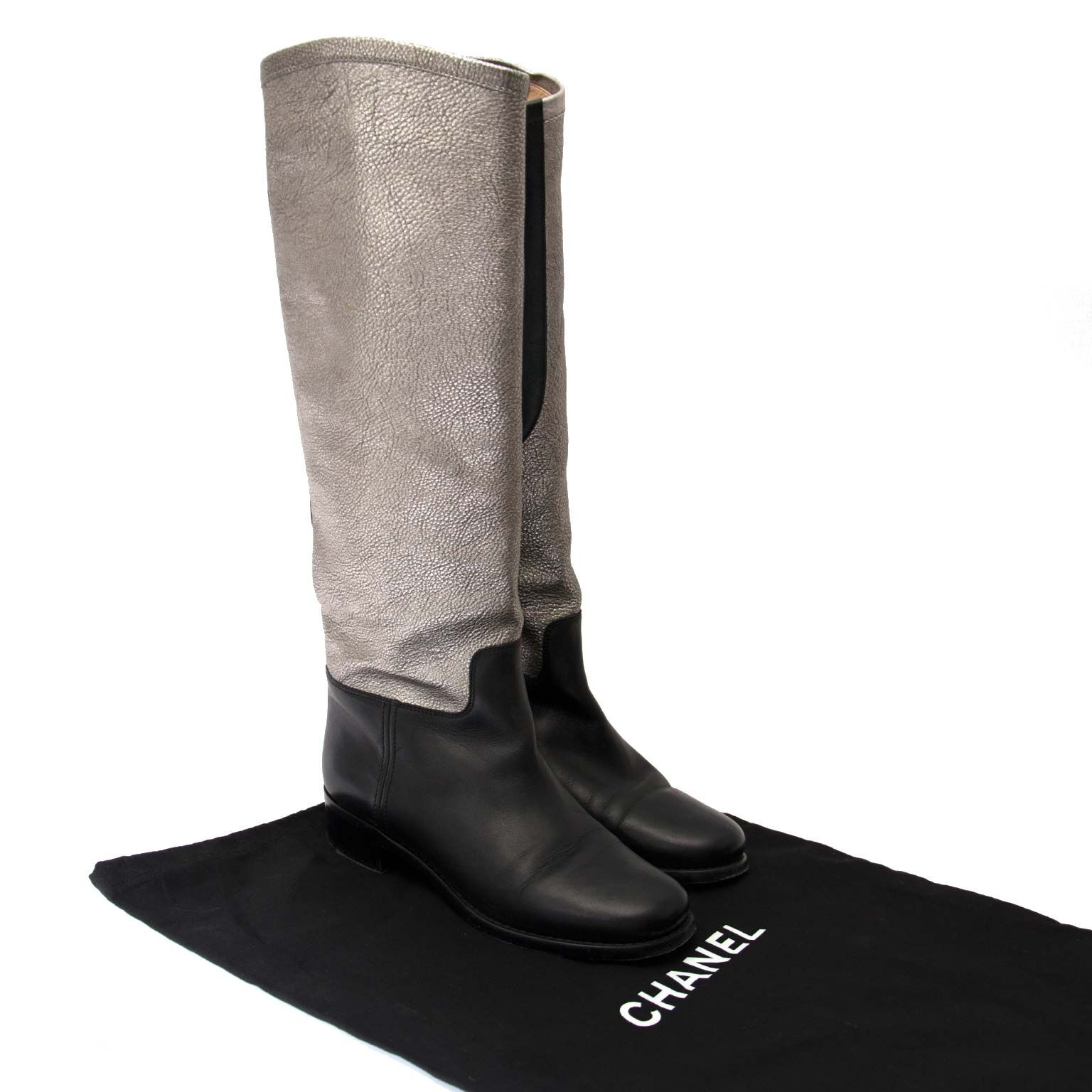 buy and sell chanel black/silver riding boots at labellov