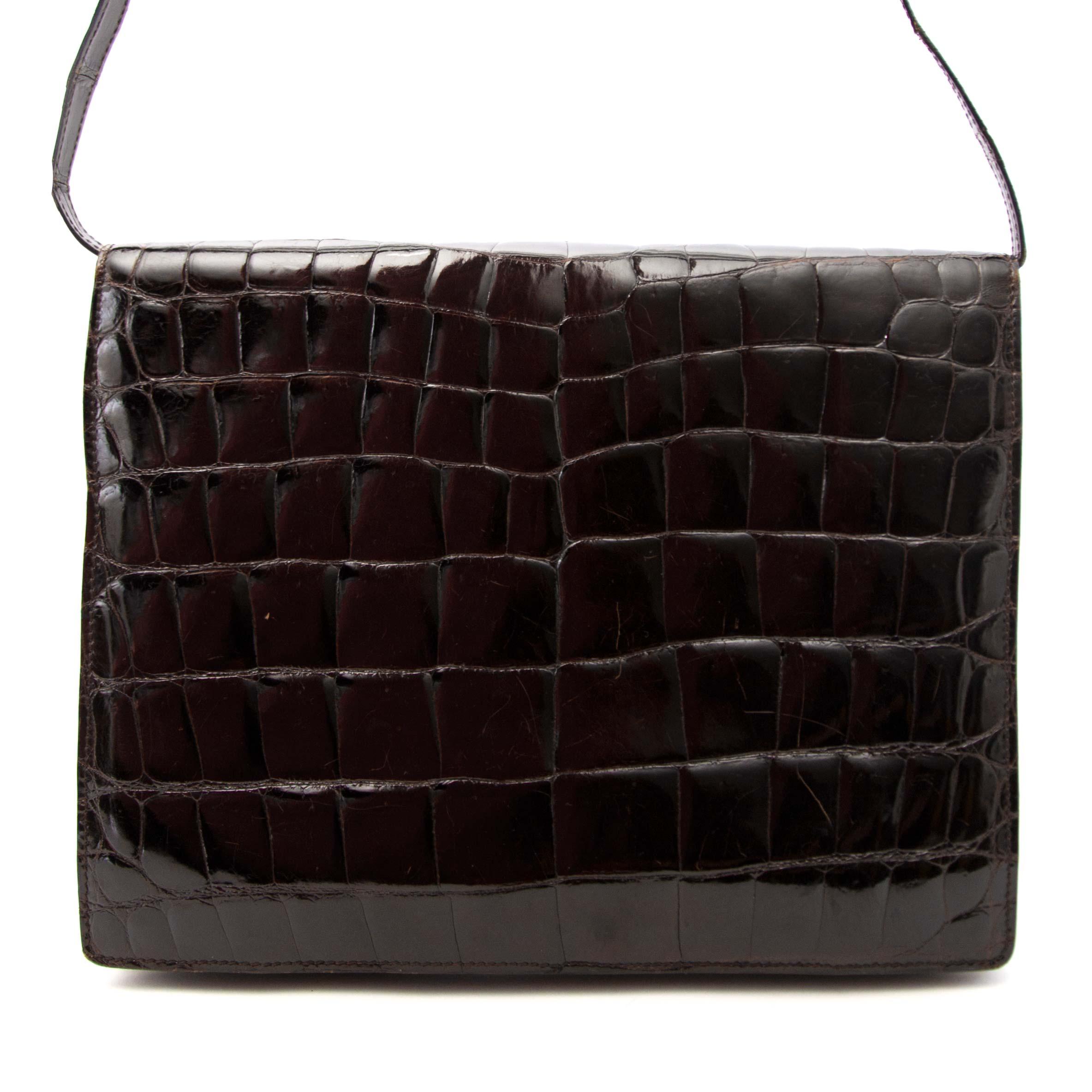 koop online aan de beste prijs Vintage Loewe Brown Croco Clutch