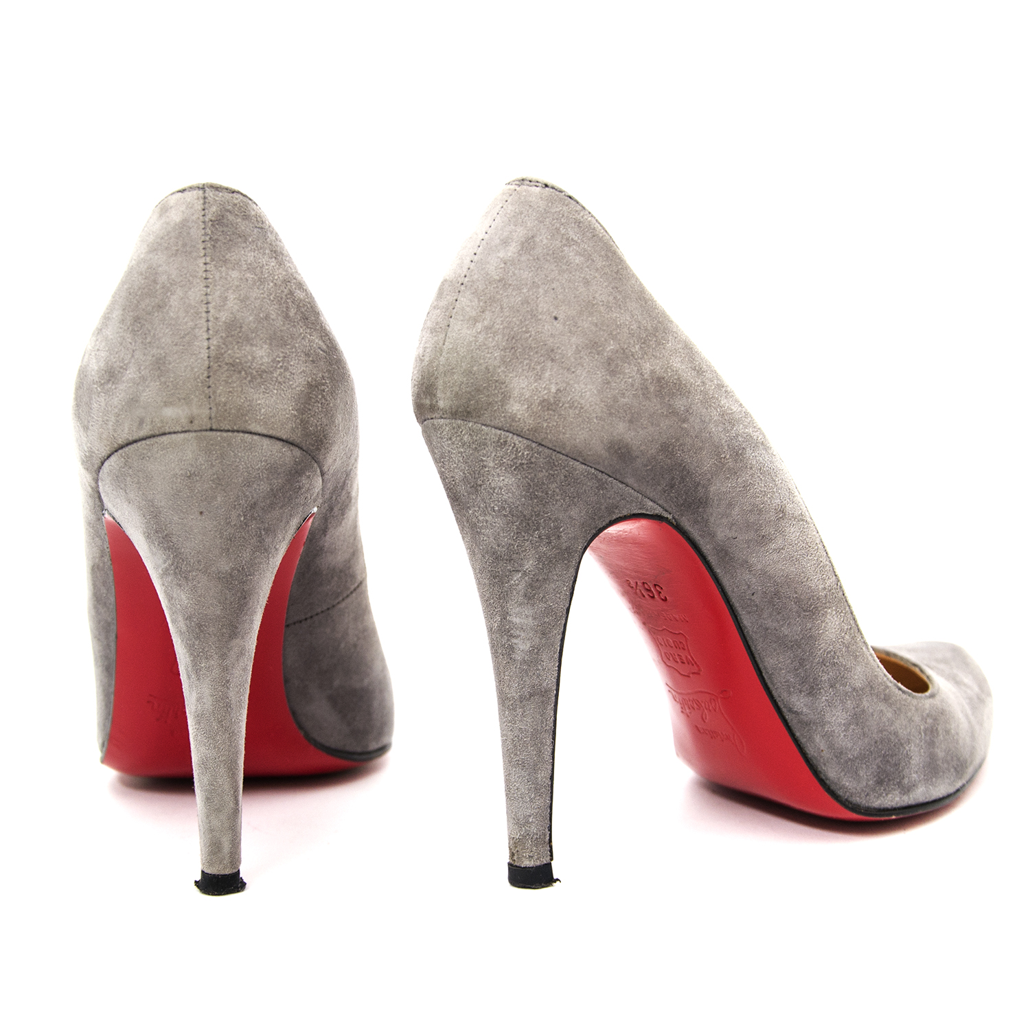 Christian Louboutin Grey Pigalle Follies 100mm for the best price online available