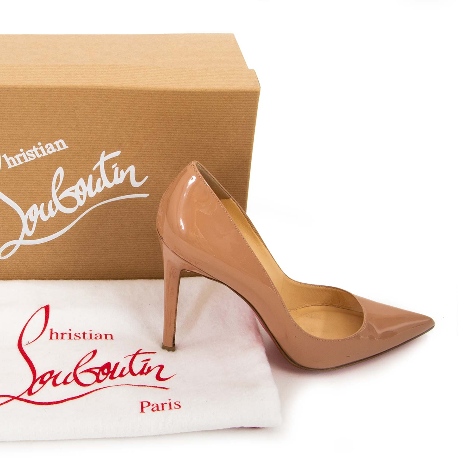 87ed12eb9 ... christian louboutin pigalle nude leather pumps now for sale at labellov  vintage fashion webshop belgium