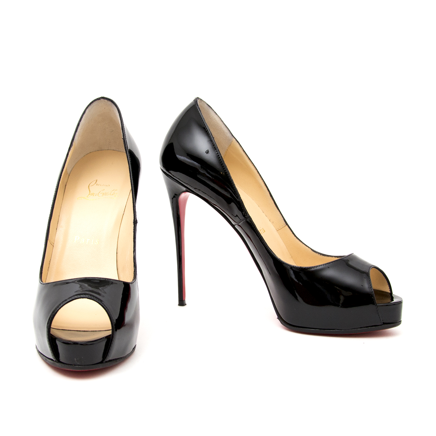 real real designer luxury shoes for the best price Louboutin New Very Prive Patent Black Platform Pumps