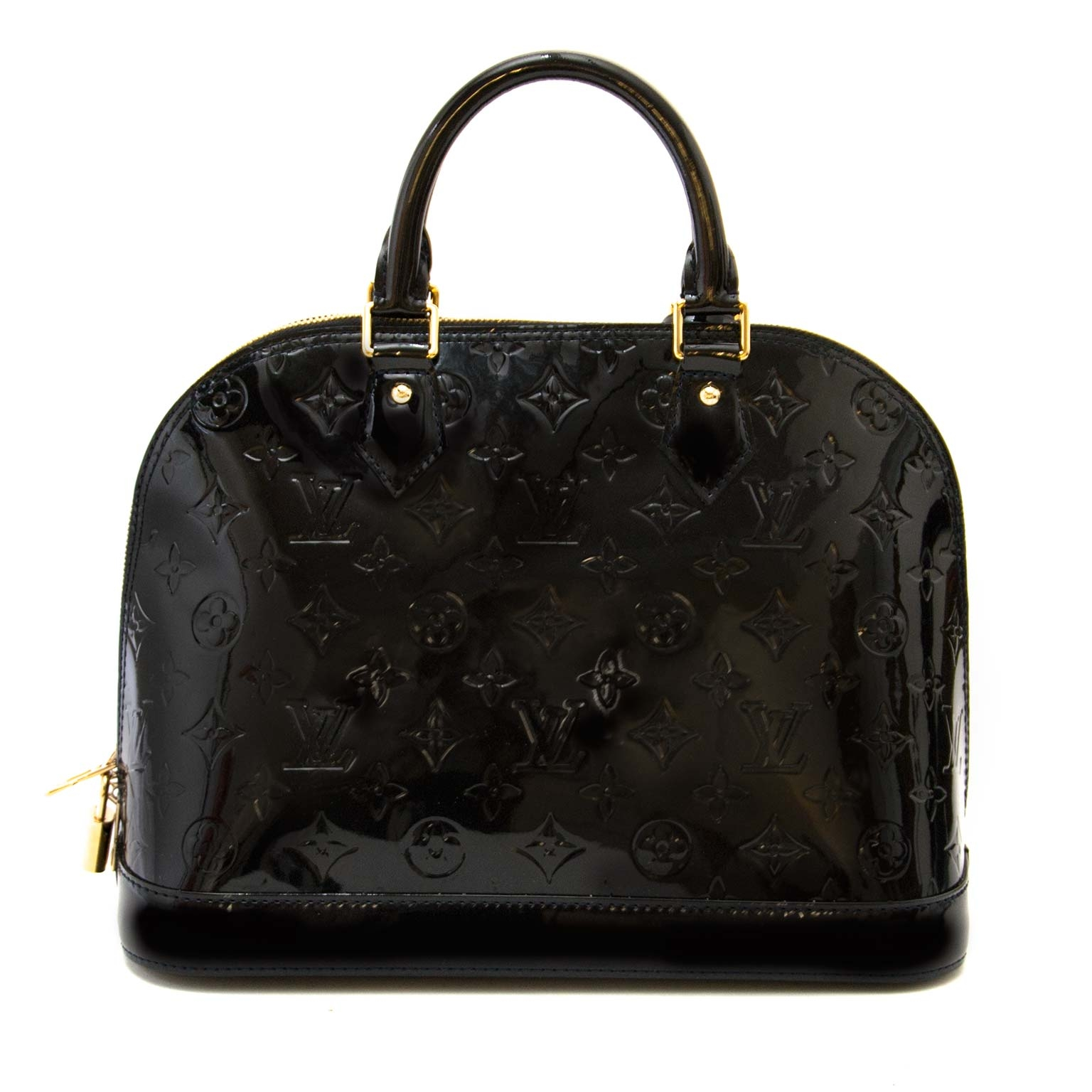 acheter en ligne seconde main Louis Vuitton Black Alma Monogram Vernis PM