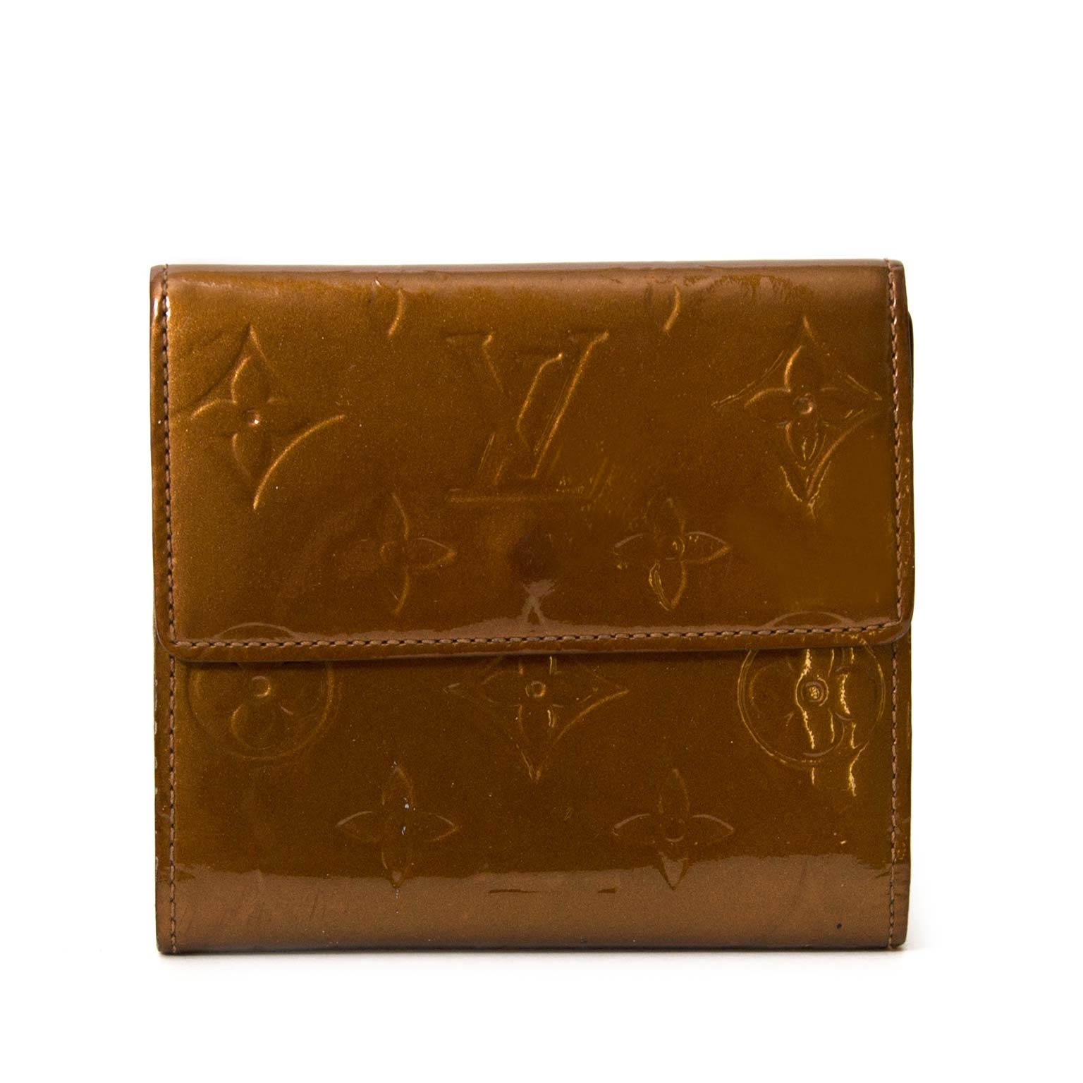 Koop en verkoop uw authentieke Louis Vuitton Bronze Vernis Leather Elise Wallet aan de beste prijs