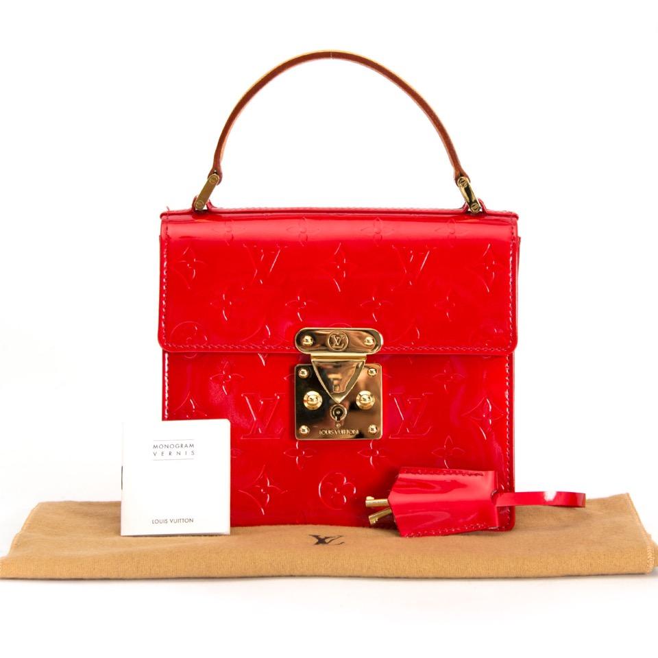 shop safe online secondhand Louis Vuitton Red Monogram Vernis Spring Street Tote Bag