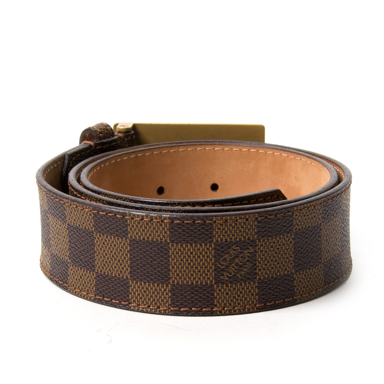 buyLouis Vuitton Damier Ebene Inventeur Belt - Size 80 and pay save online