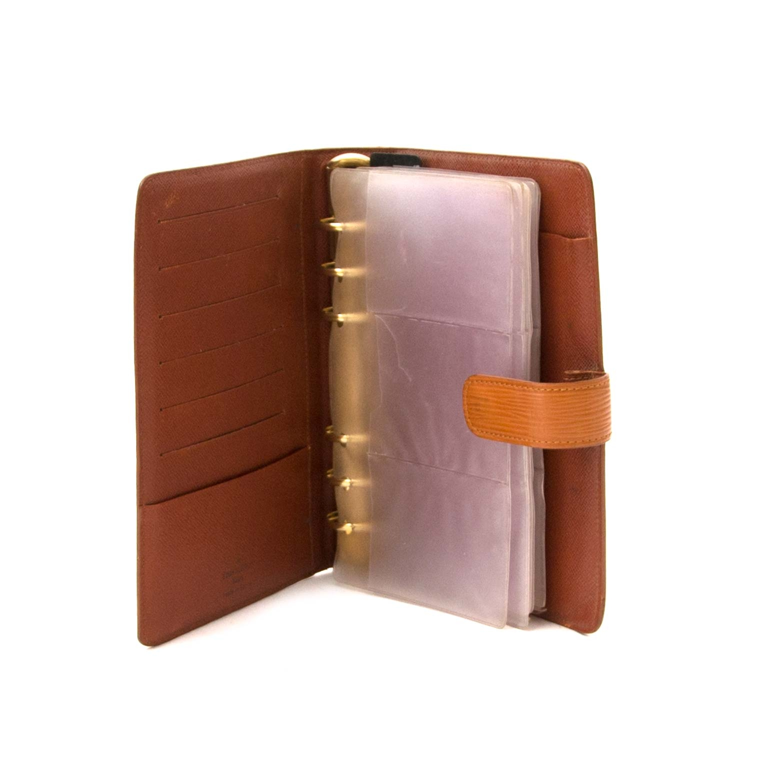 buy Louis Vuitton Brown Epi Leather Medium Ring Agenda Cover at labellov for a good price