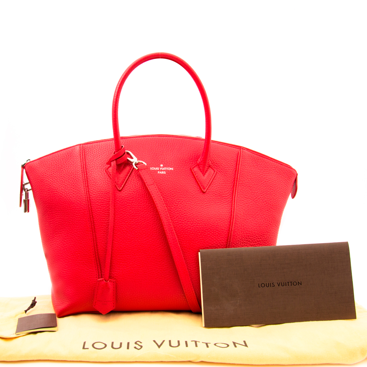 Buy and sell your secondhand designer handbags such as this Louis Vuitton Lockit MM Red