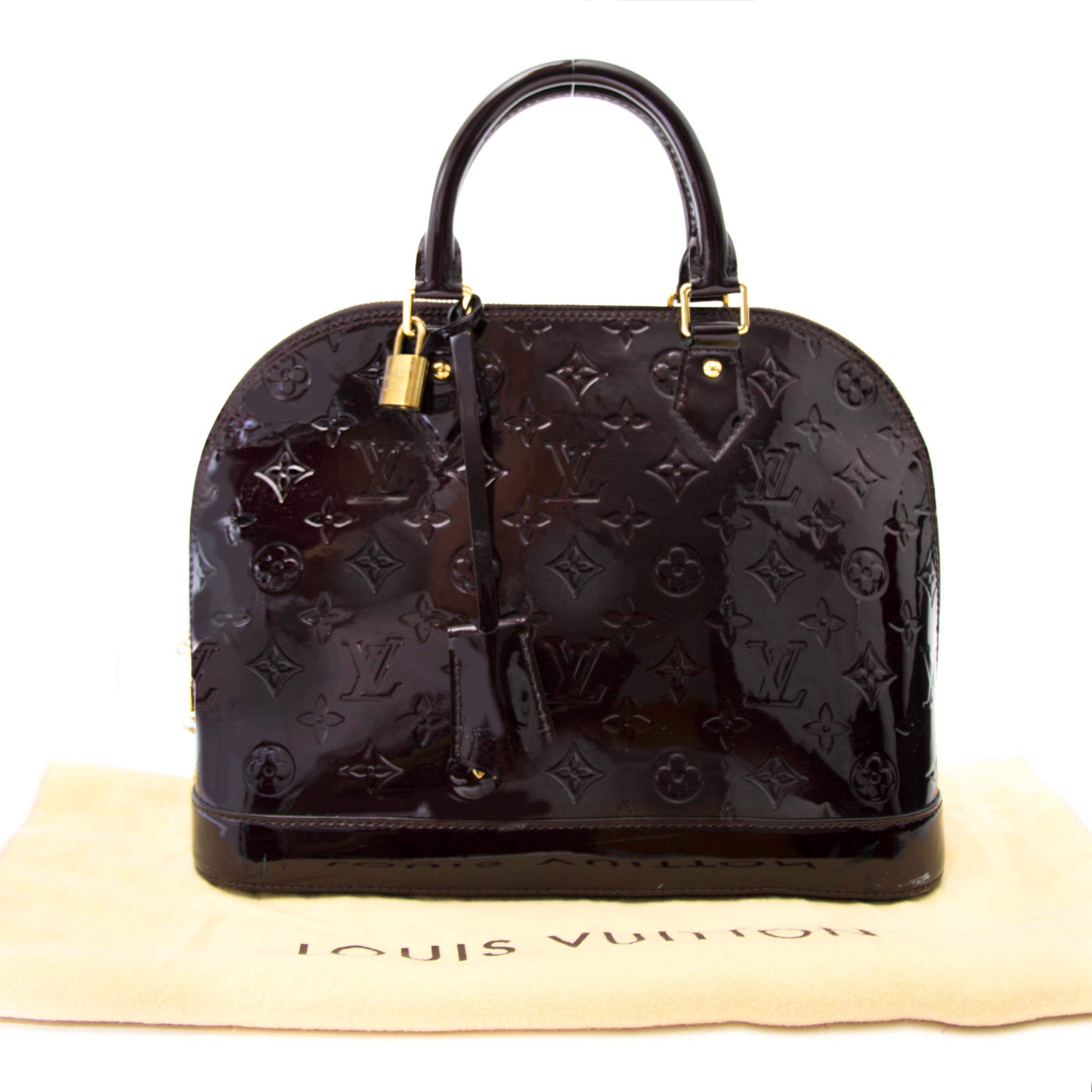 Buy your Louis Vuitton Alma PM Cuir Monogram Vernis Amarante for the best price