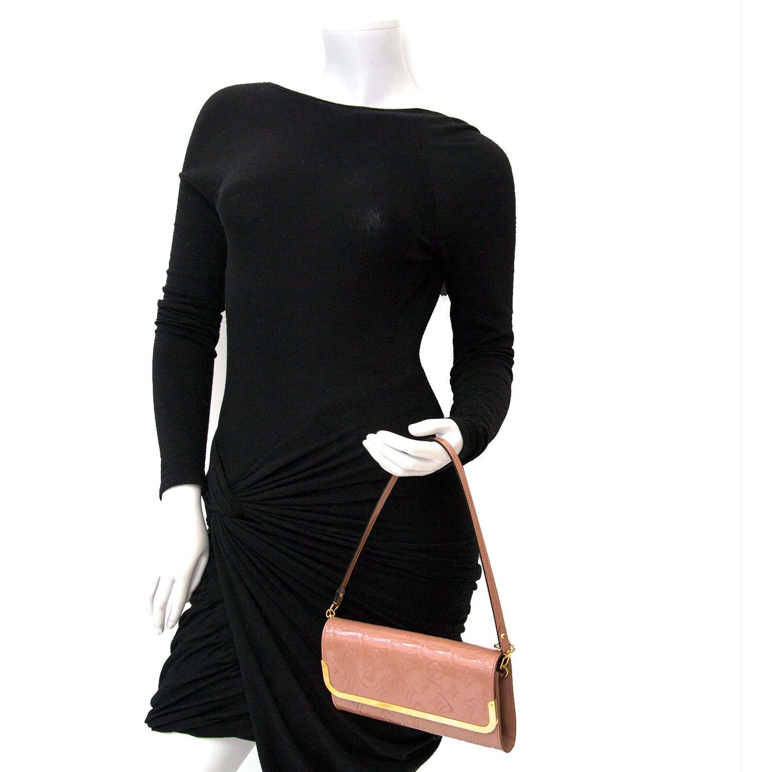 Buy your authentic Louis Vuitton Rose Velours Monogram Vernis Rossmore Shoulder Bag