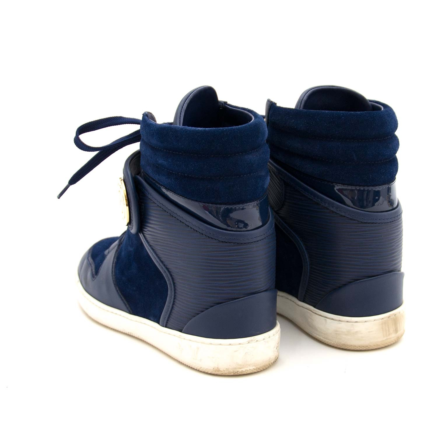 Louis Vuitton Blue Leather and Suede High Top Wedge Sneakers  for sale