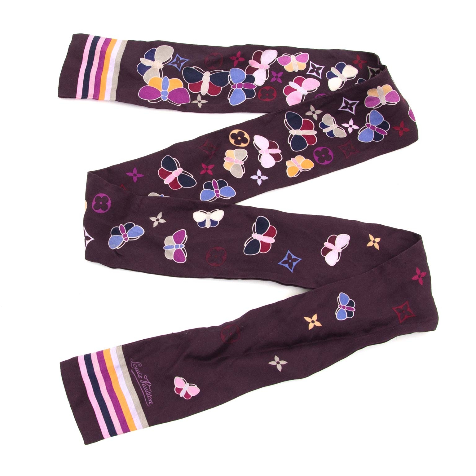 louis vuitton silk purple twilly now for sale at labellov vintage fashion webshop belgium