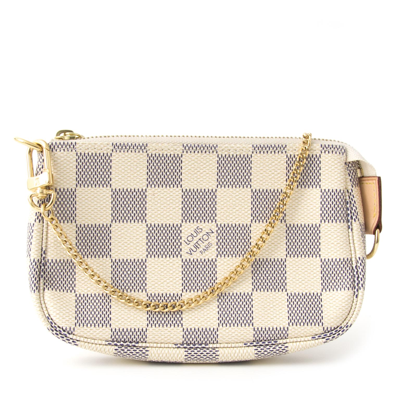 ... acheter en ligne seconde main Louis Vuitton Mini Pochette Damier Azur  comme neuf site en ligne a2d4b83d25920
