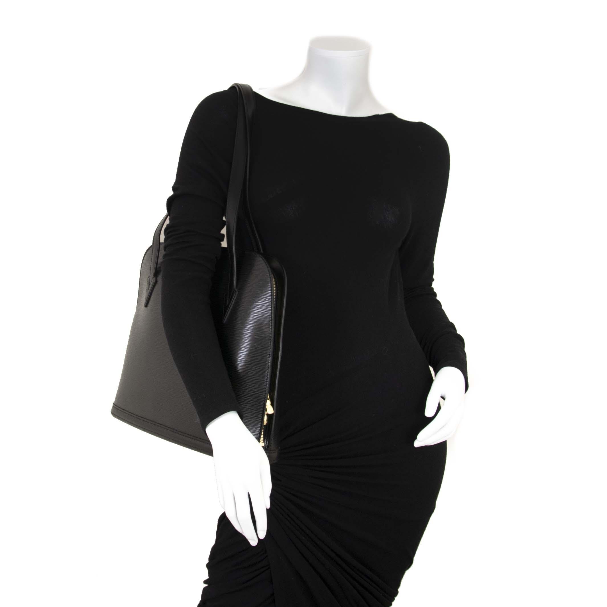 Louis Vuitton Black Epi Leather Lussac Shoulder Bag now for sale at labellov vintage fashion webshop belgium