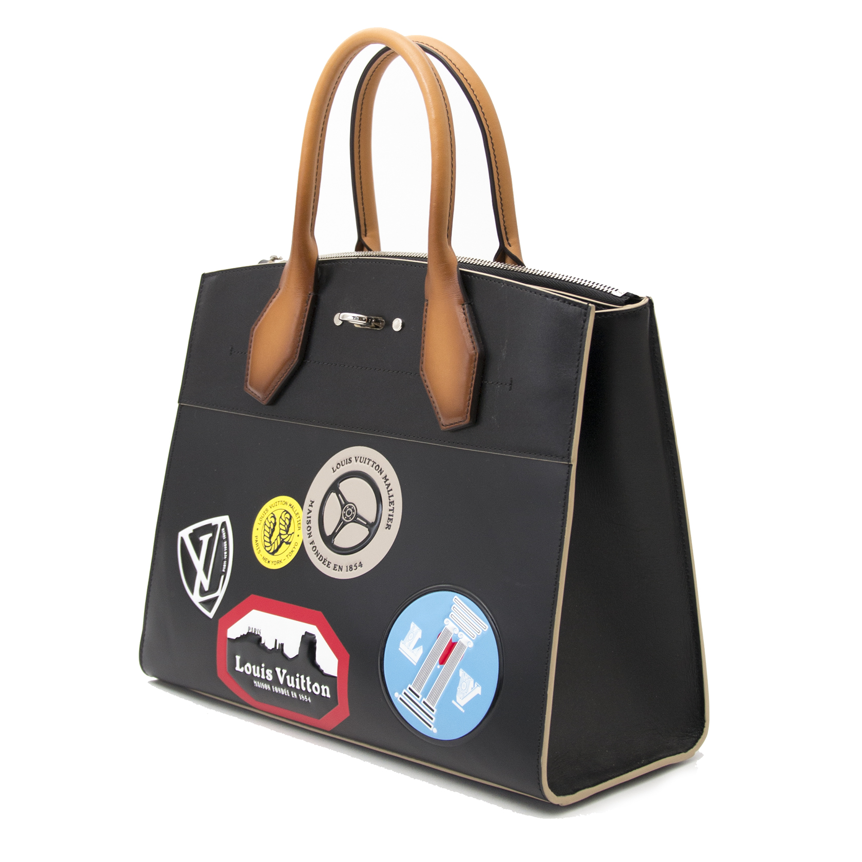 Exclusive Louis Vuitton Black Veau Satin World Tour City Steamer Bag MM for the best price