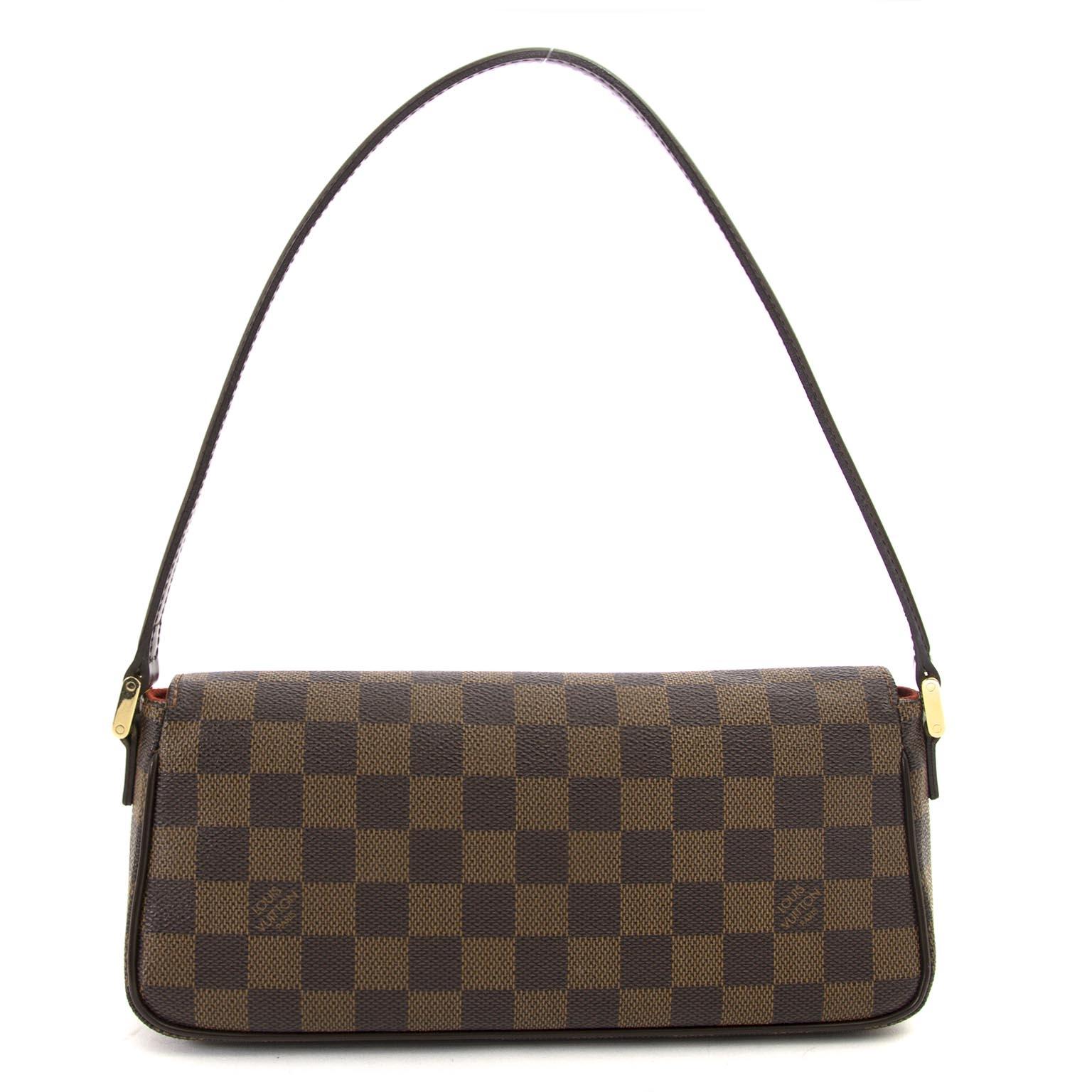 shop safe online secondhand Louis Vuitton Damier Ebene Recoleta Shoulder Bag