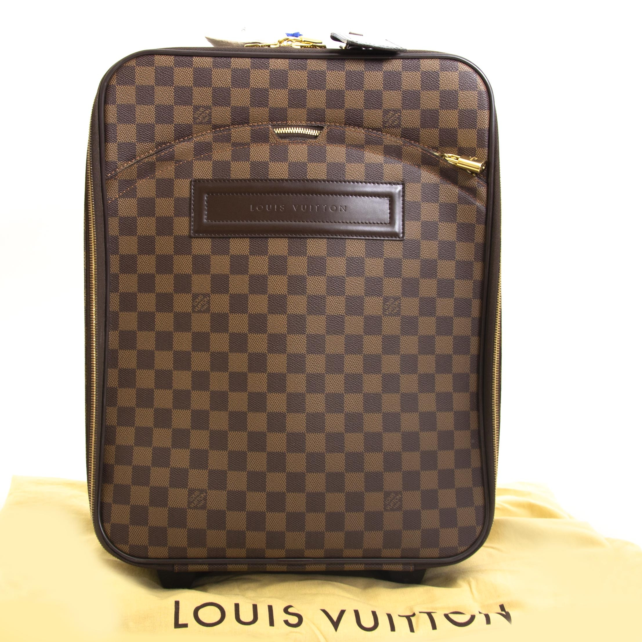 Louis Vuitton Damier Ebene Pegase 45 Rolling Luggage now for sale at labellov vintage fashion webshop belgium
