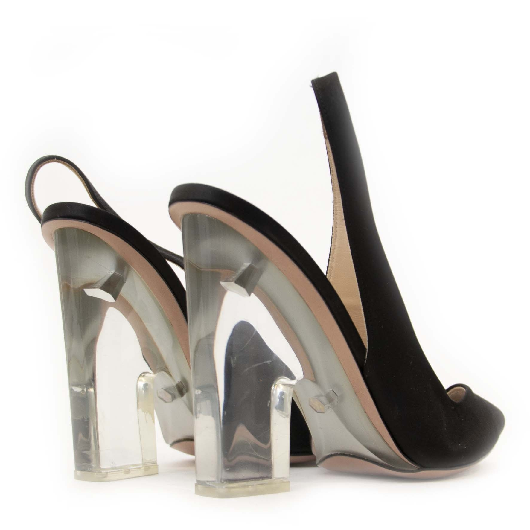 Secondhand Prada black peep toe heels at Labellov. Safe online shopping