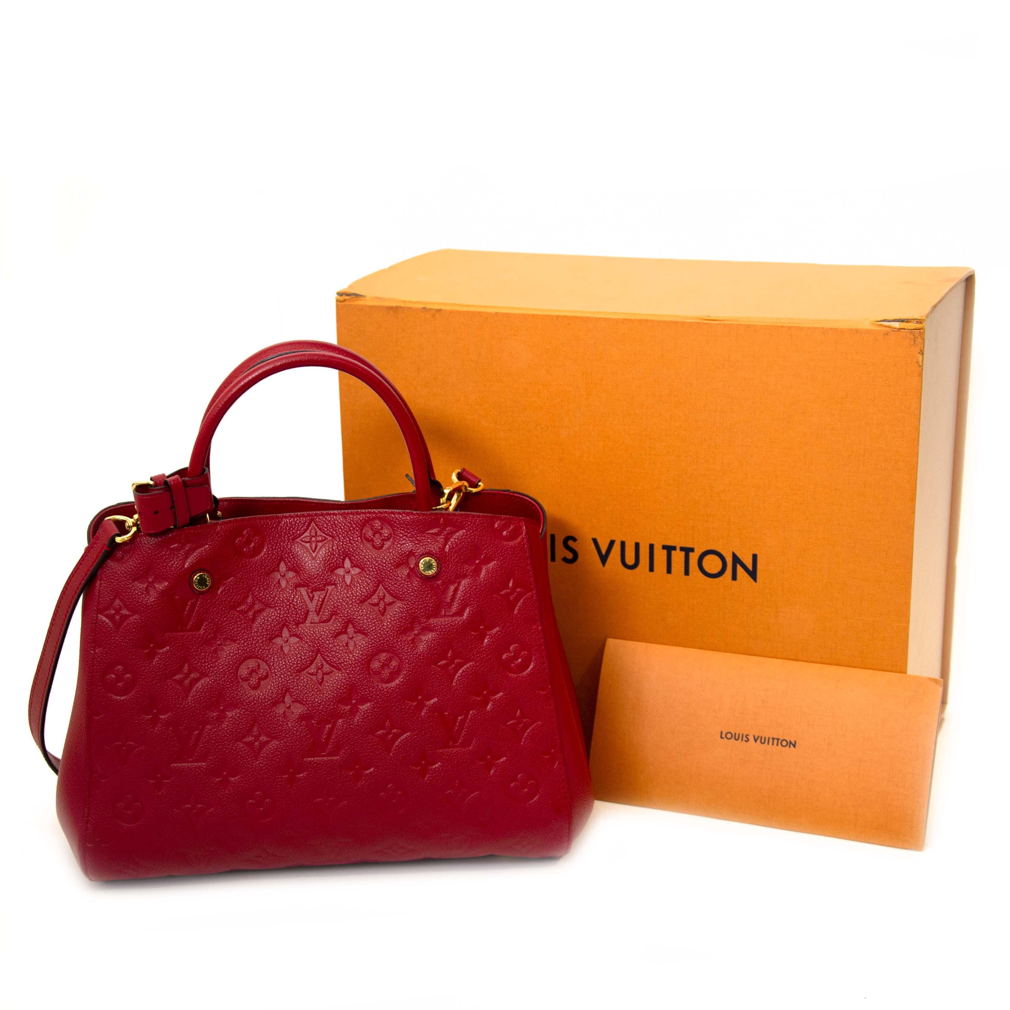 Louis Vuitton Red Montaigne MM Monogram Empreinte Top Handle Bag