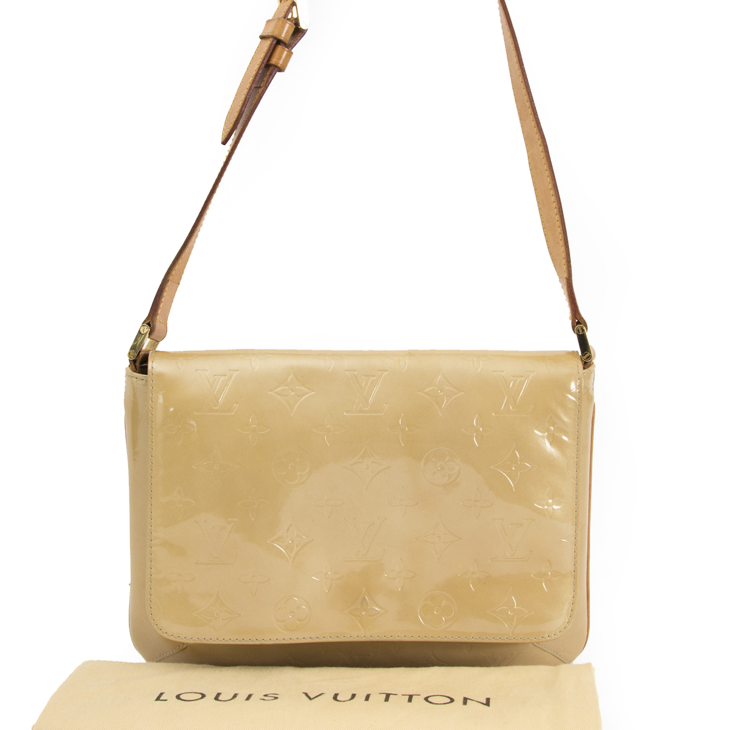 shop safe online your secondhand 	Louis Vuitton Vernis Thompson Street Beige Shoulder Bag