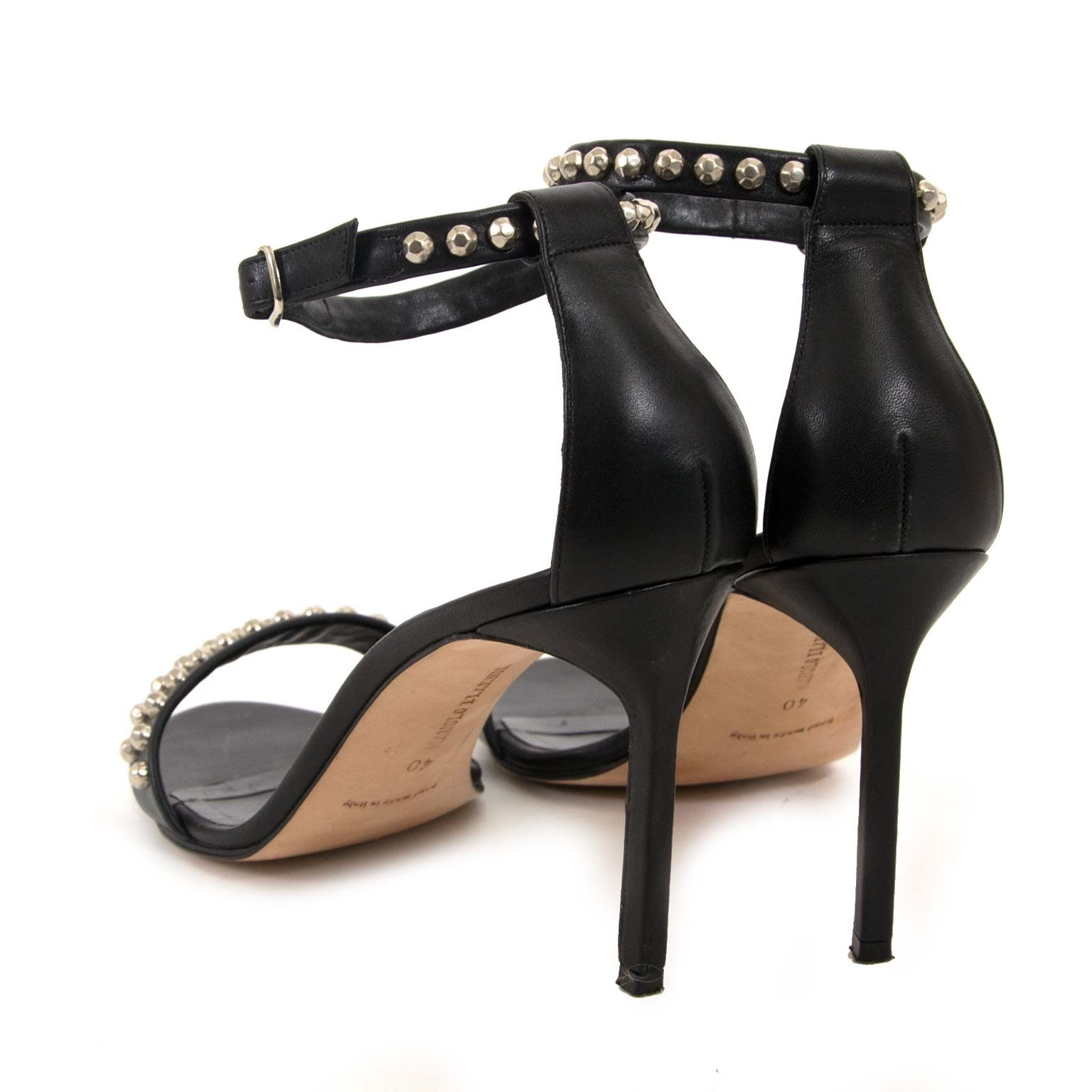 manolo blahnik black miramar studded leather sandals now for sale at labellov vintage fashion webshop belgium