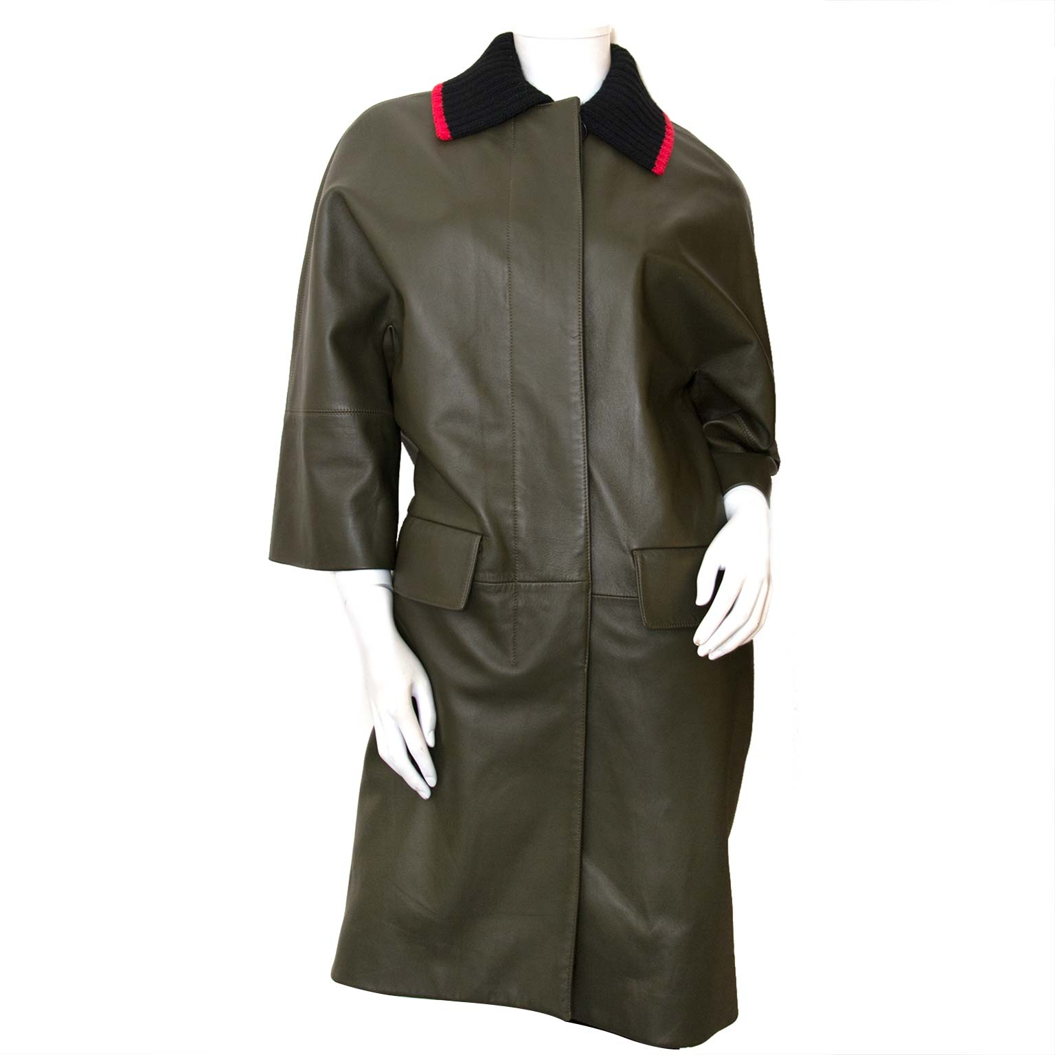 marni khaki leather coat now for sale at labellov vintage fashion webshop belgium