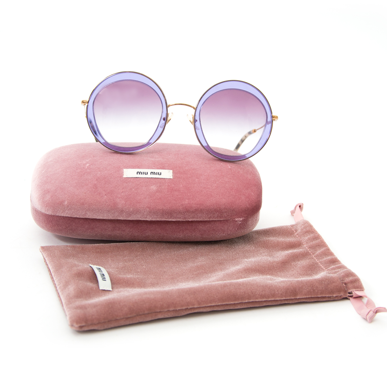 shop safe online secondhand Miu Miu Appliquéd Round Frame Sunglasses