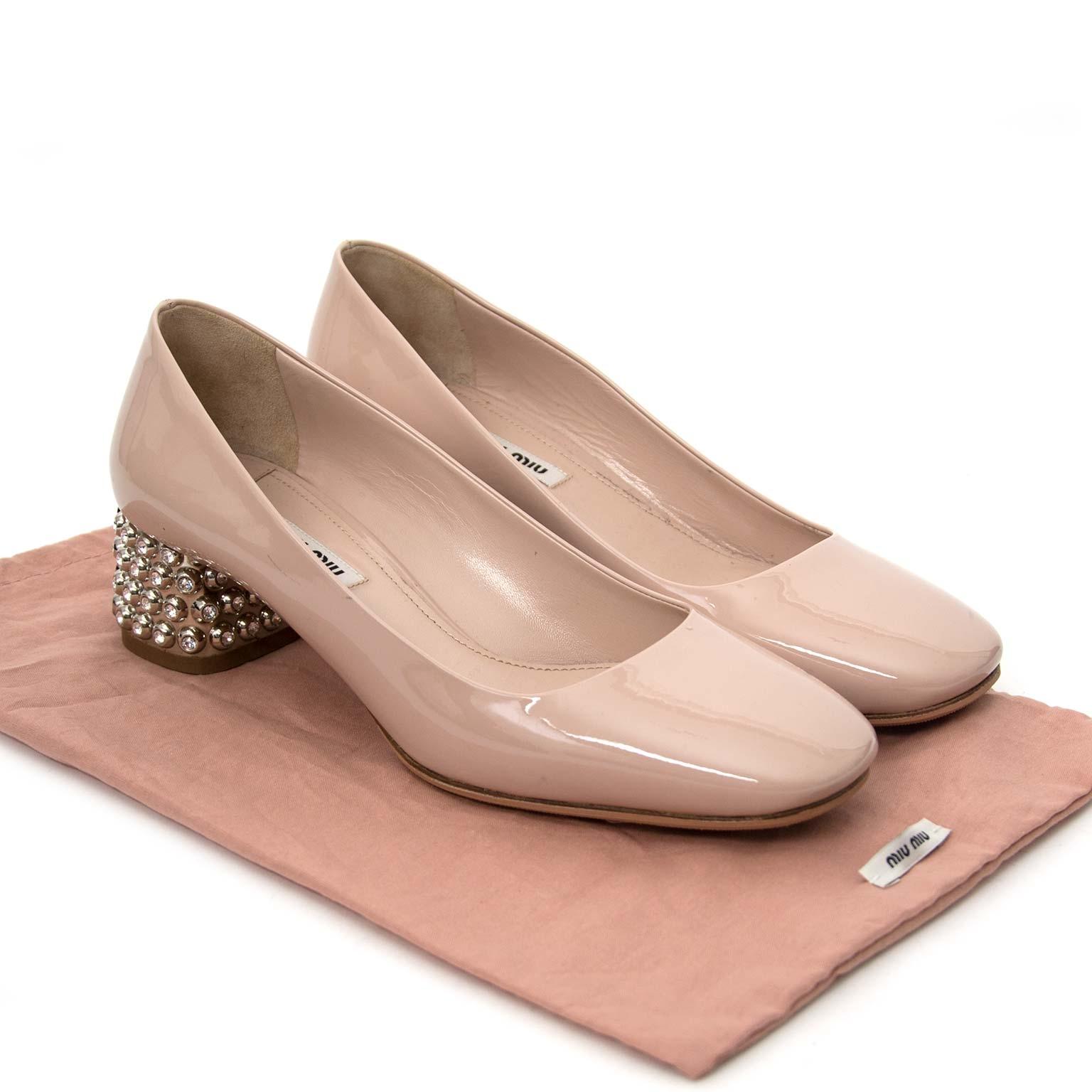 Miu Miu Crystalheel Nude Patent Leather Sandal