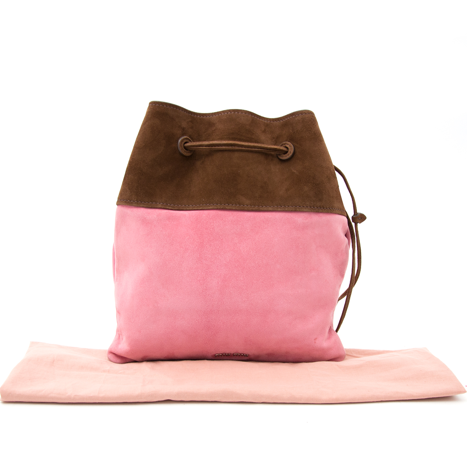 Buy a secondhand Miu Miu Pink/Brown Suede Bucket Bag at Labellov