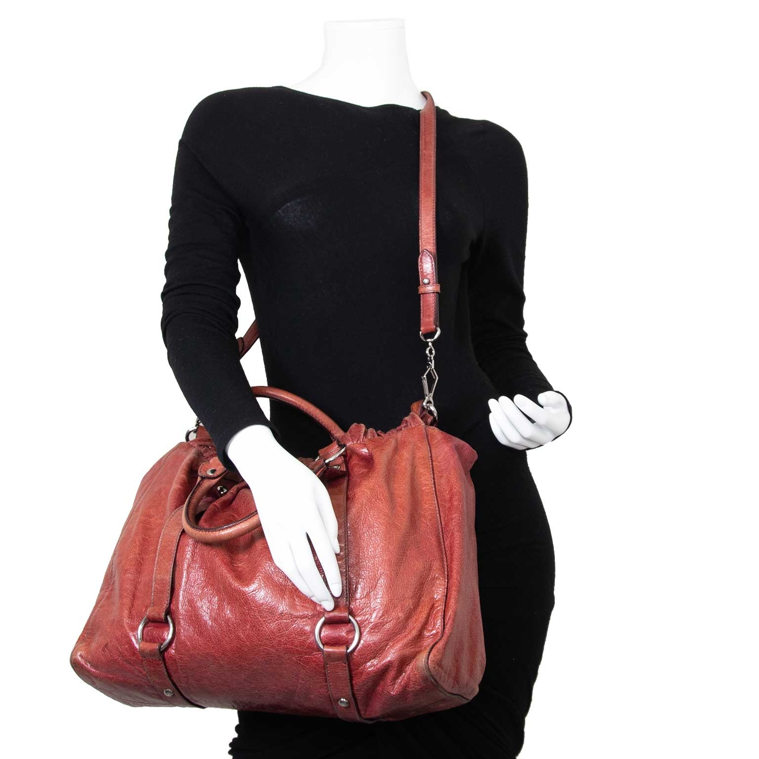 miu miu vitello lux gathered leather shopper now for sale at labellov vintage fashion webshop belgium
