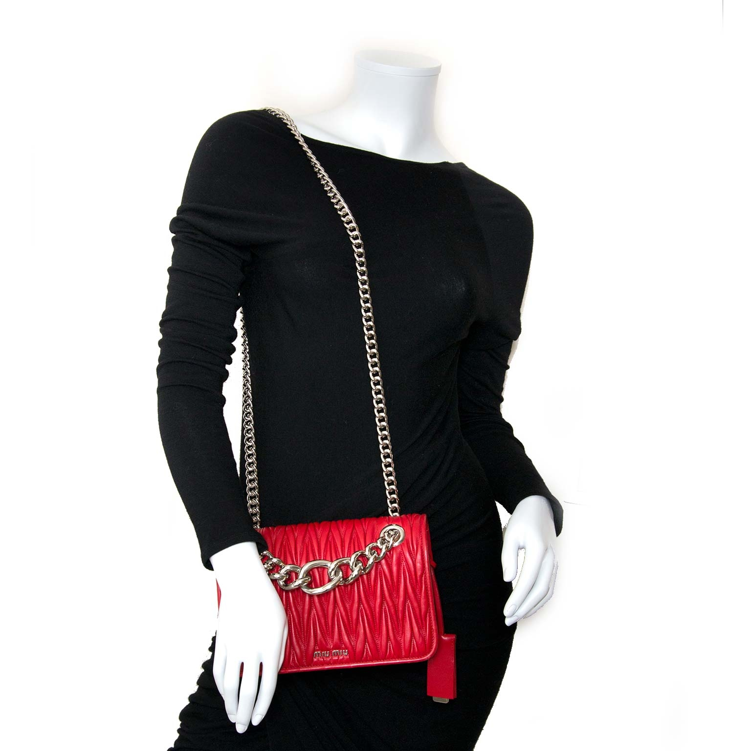 miu miu nappa matelasse club red shoulder bag now for sale at labellov vintage fashion webshop belgium