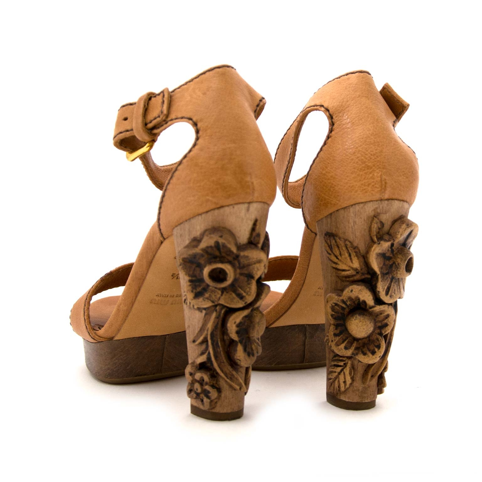buy Miu MIu Wooden Floral Platform Heels - Size 36,5 and pay save online at labellov
