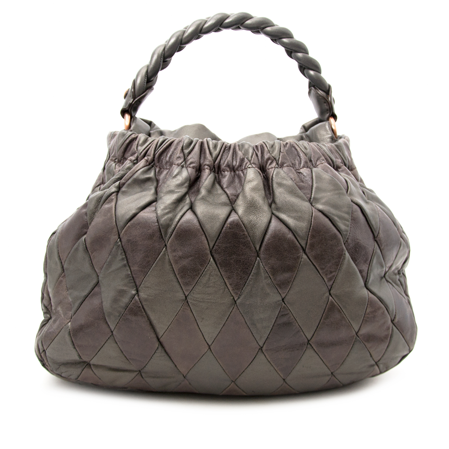 We buy and sell your seondhand Miu Miu Grey Leather Handbag for the best price online.