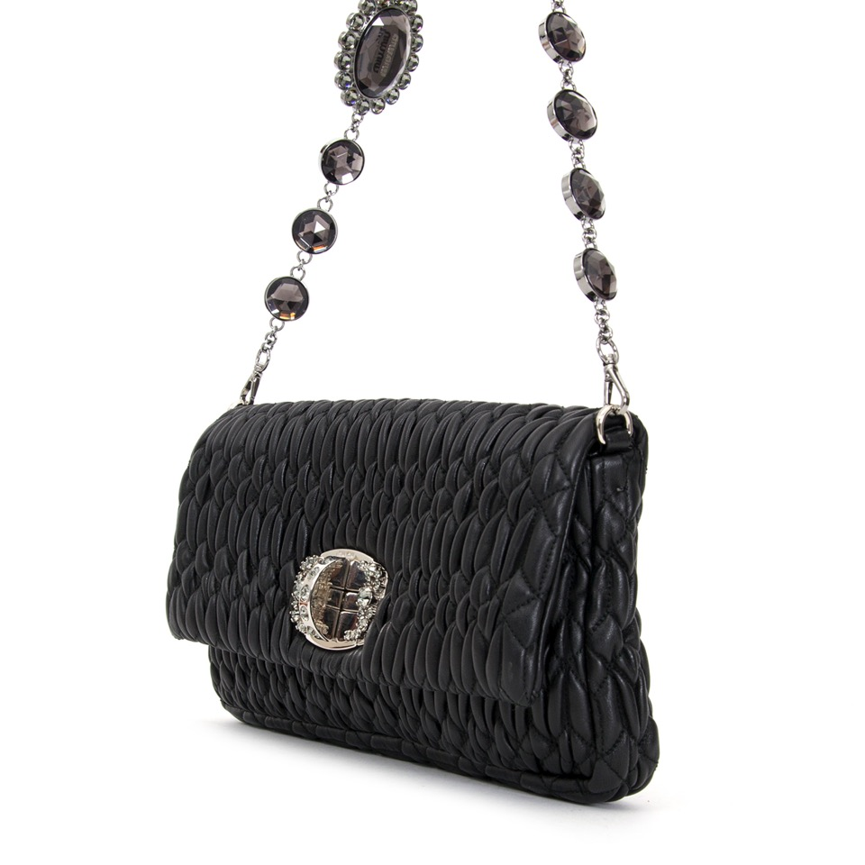 shop safe online at the best price secondhand deesigner Miu Miu Black Cloquet Nappa Stage Bag  like new