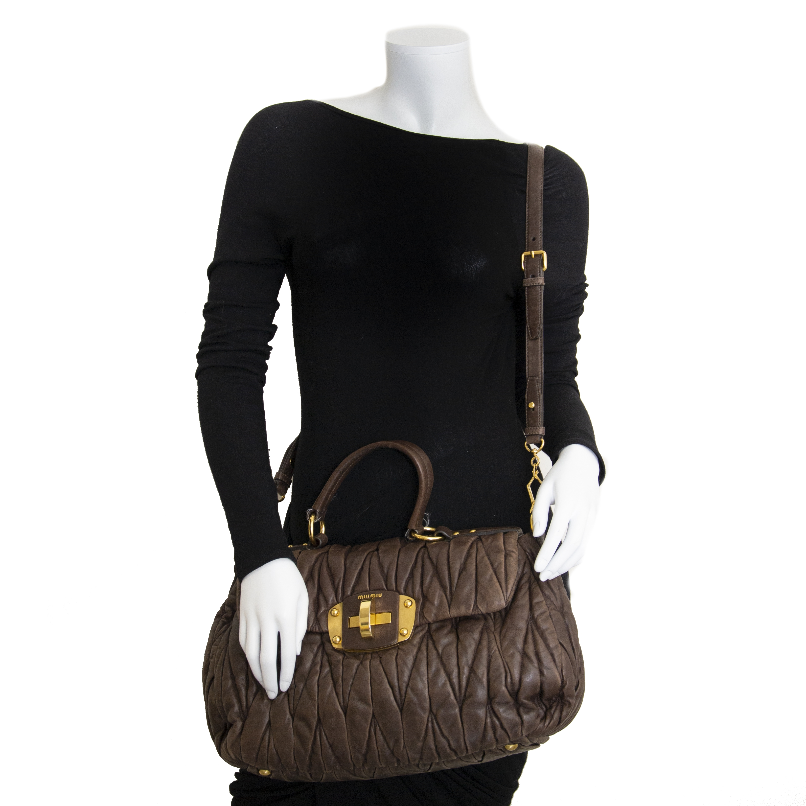 Miu Miu Matelasse Brown Leather Top Handle Bag now for sale at labellov vintage fashion webshop belgium