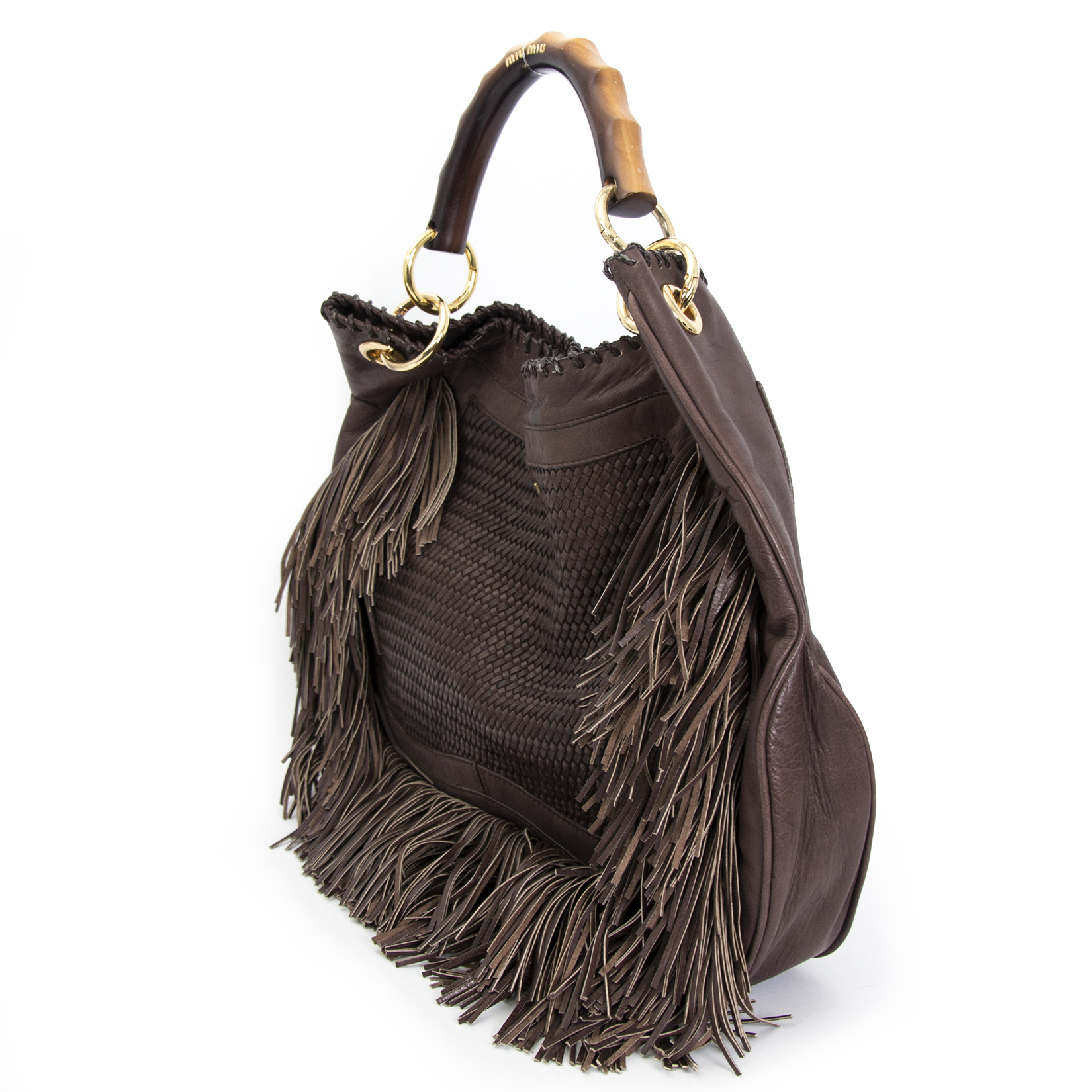 Achetez maintenant en ligne votre secondmain Miu Miu Brown Leather Tassel Handbag chez labellov.com