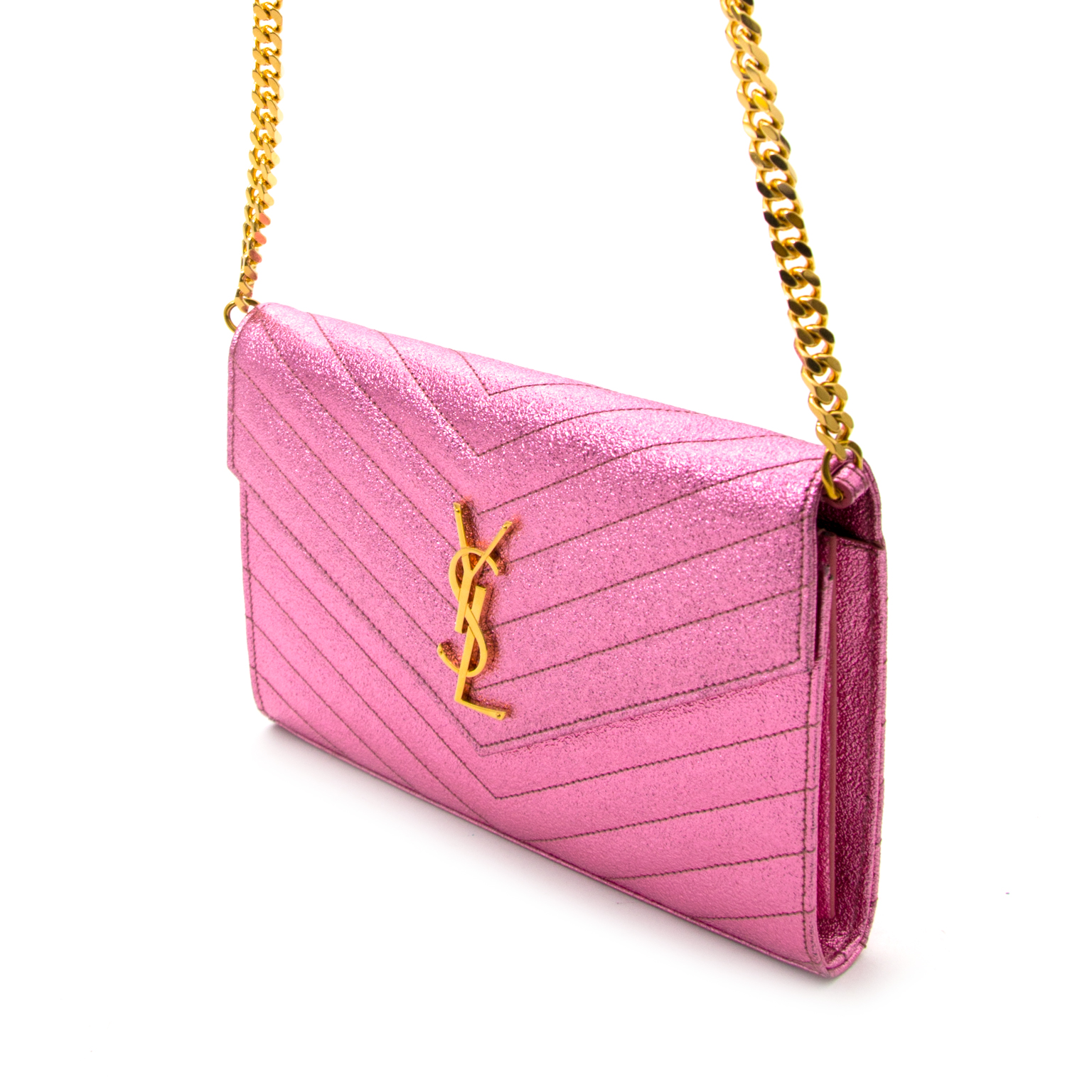 456075efa60d ... Shop safe and secure online at labellov.com Saint Laurent Pink Textured  Metallic Chain Wallet