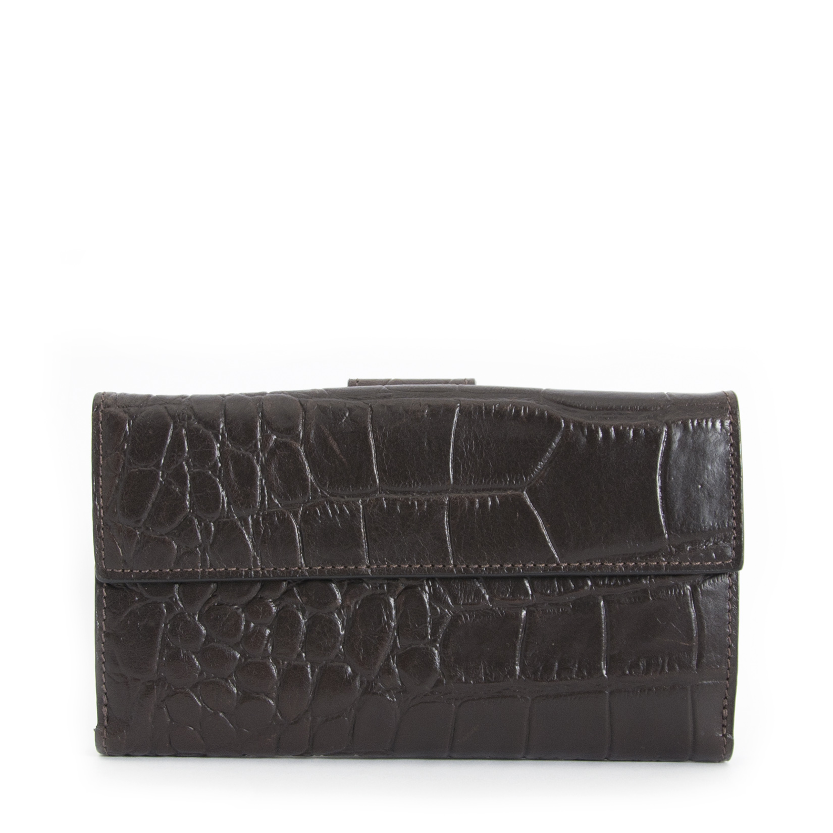 ... Mulberry Croco Embossed Brown Leather Wallet for the best price  available online 64b9407868ae4