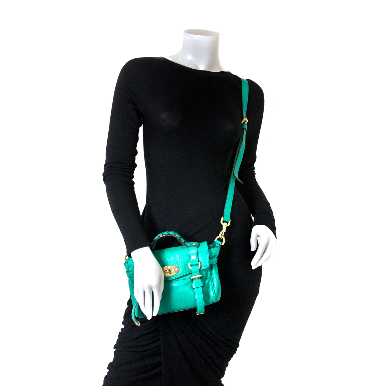 mulberry alexa green leather cross body bag now for sale at labellov vintage fashion webshop belgium