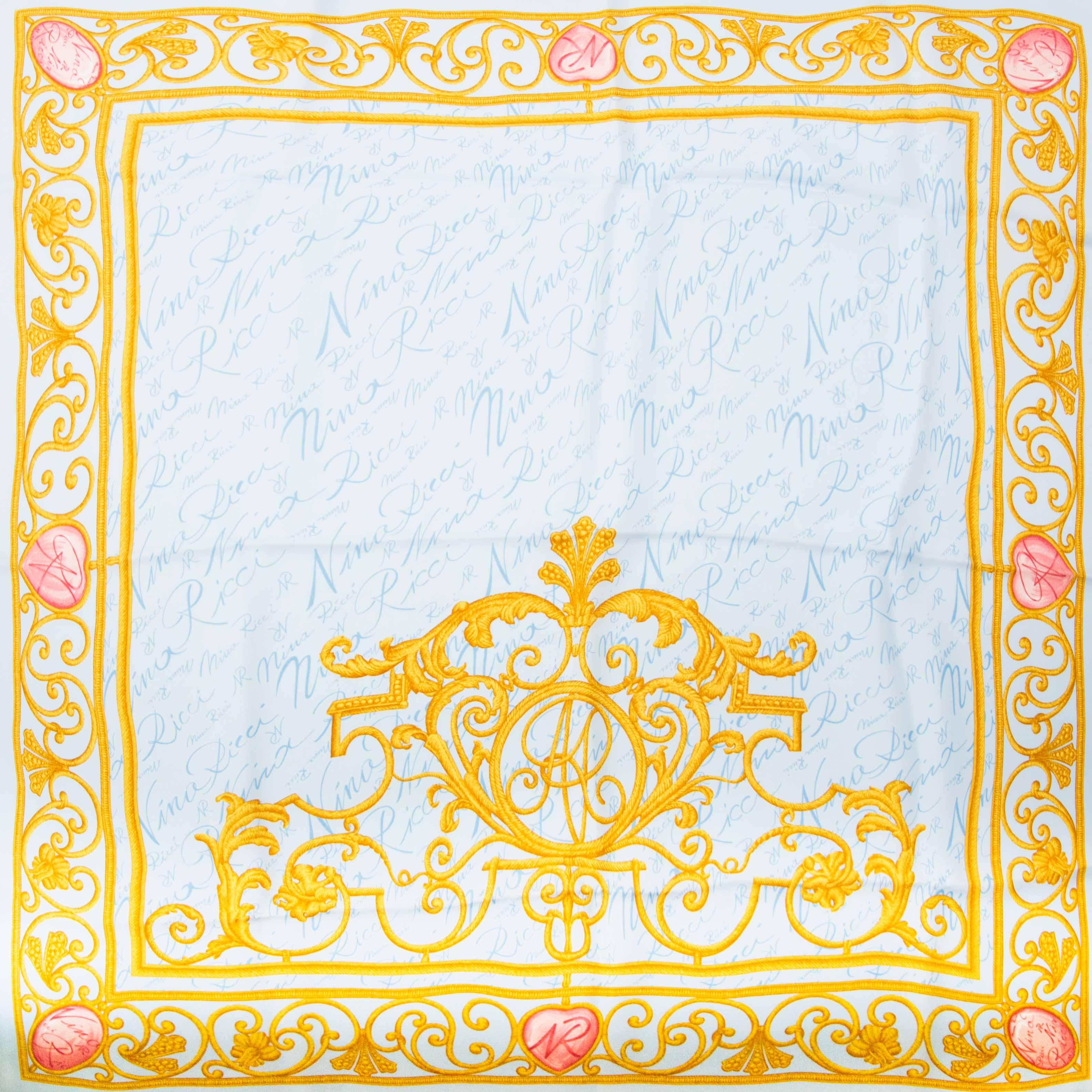 Buy your vintage Nina Ricci Blue Gold Chains Silk Scarf